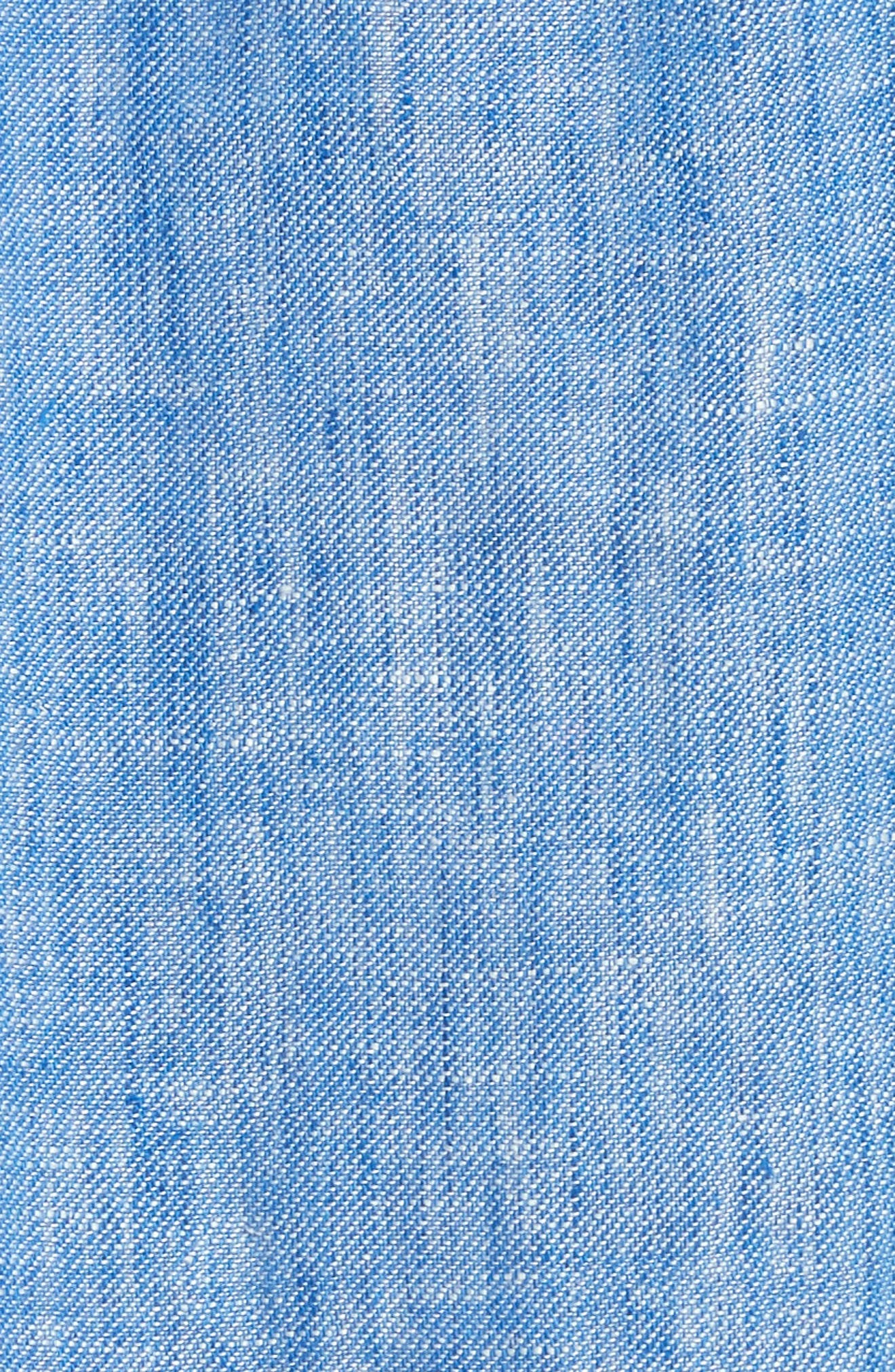 Fermina Ruffle Sleeve Linen Dress,                             Alternate thumbnail 5, color,                             Surf Break