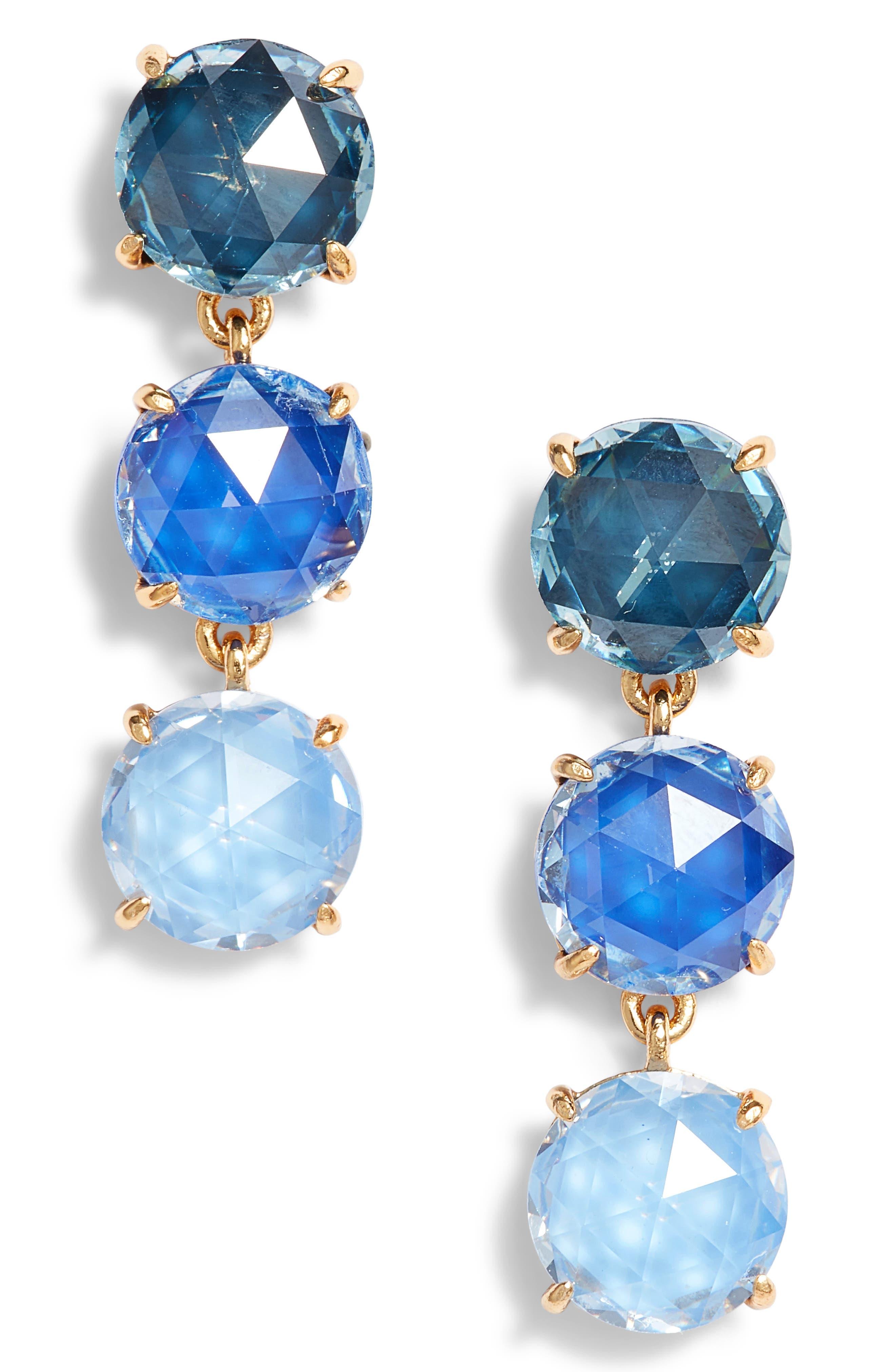 bright ideas triple drop earrings,                         Main,                         color, Blue Multi