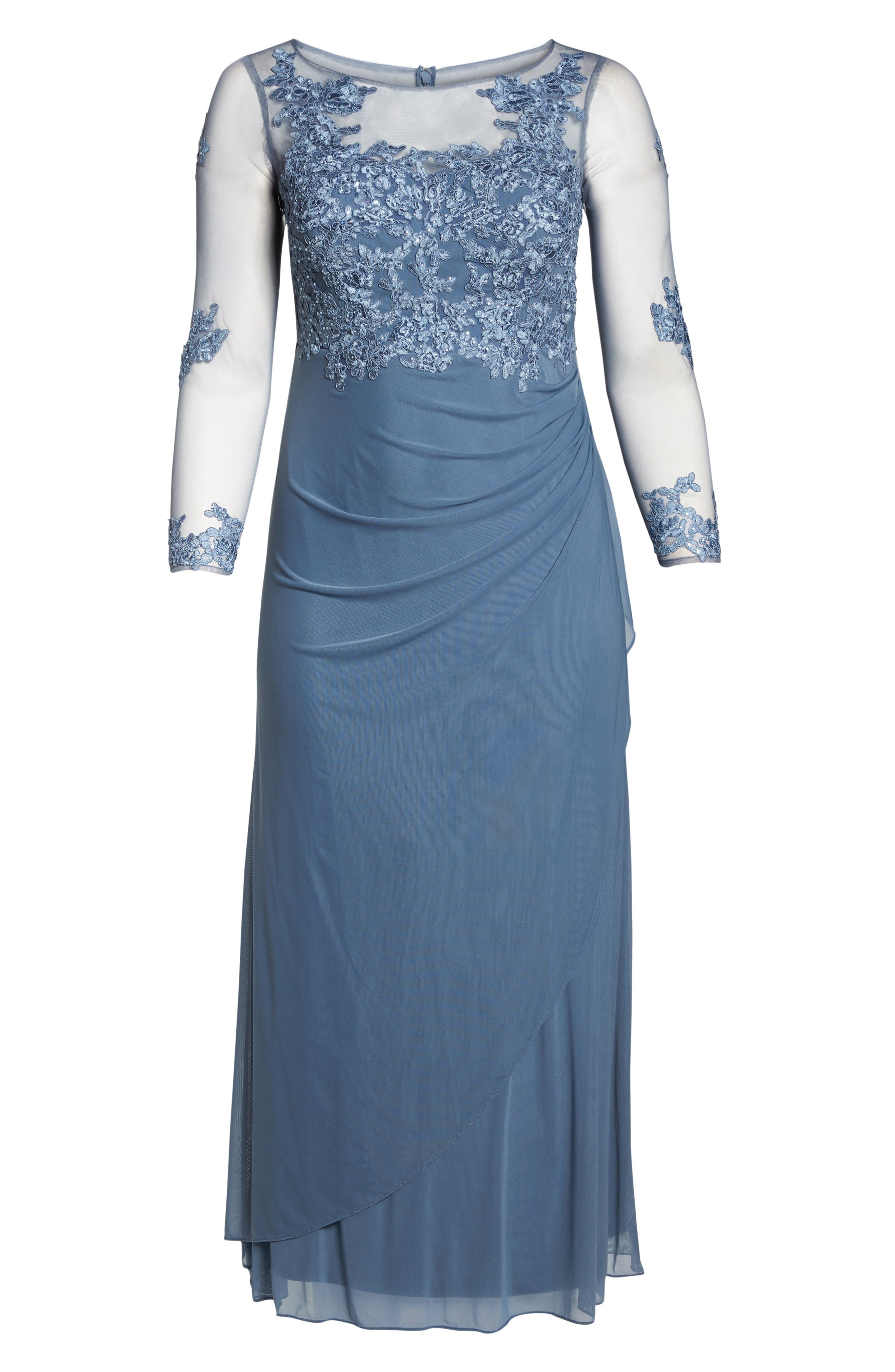 Embroidered Illusion Lace Gown,                             Alternate thumbnail 6, color,                             Peri