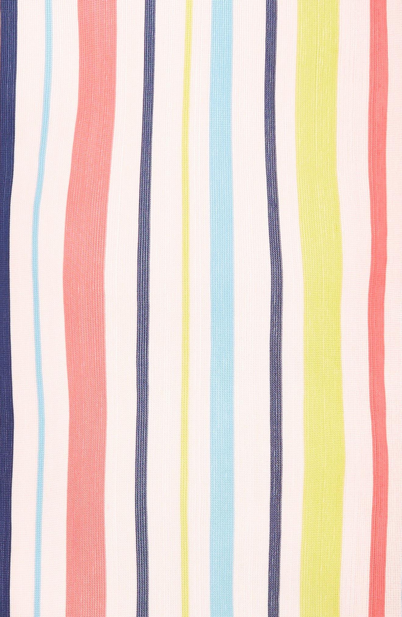Cabana Stripe Silk Scarf,                             Alternate thumbnail 4, color,                             Rose Pink