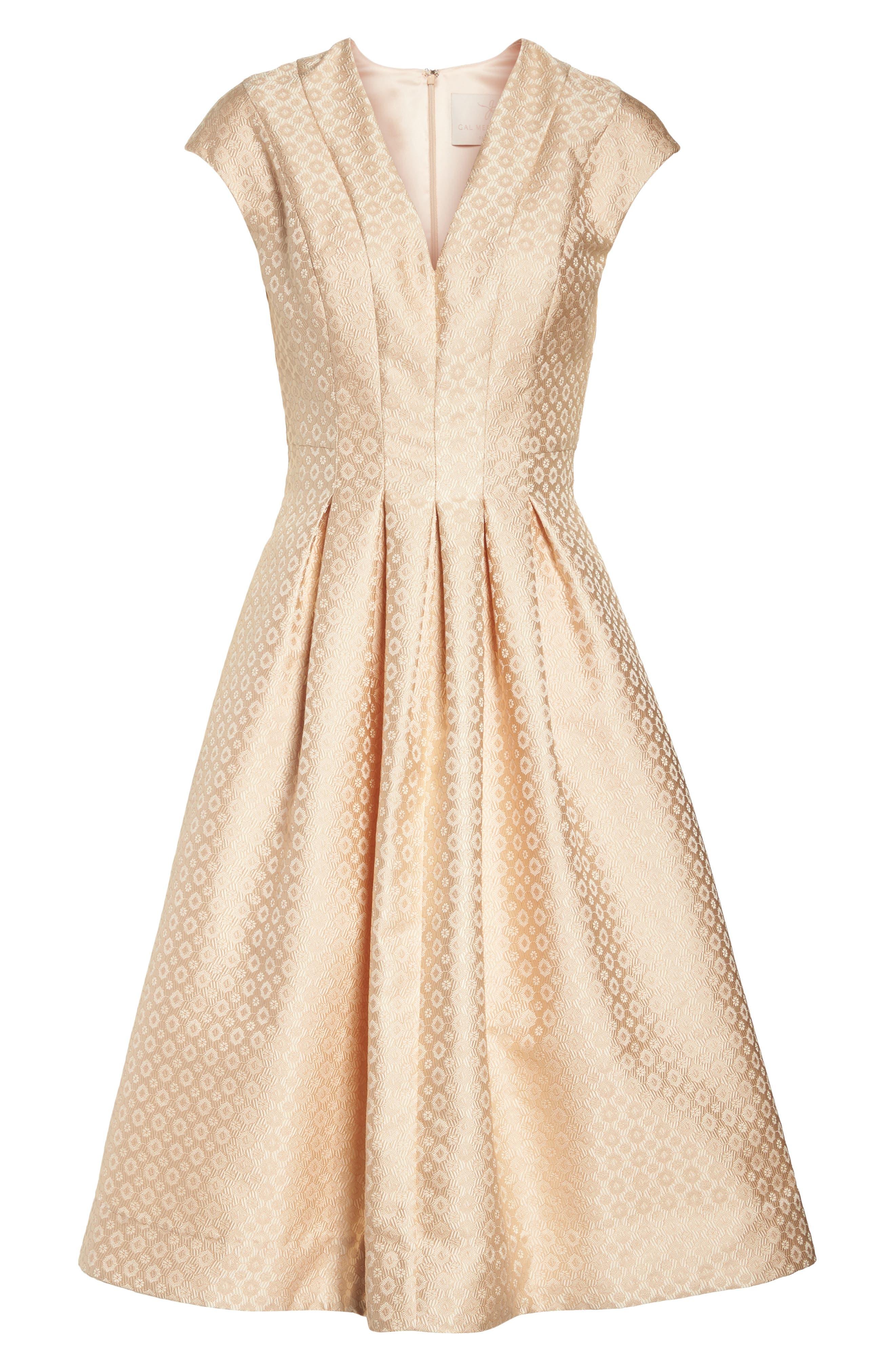 Grace Pleated Jacquard Fit & Flare Dress,                             Alternate thumbnail 8, color,                             Cream