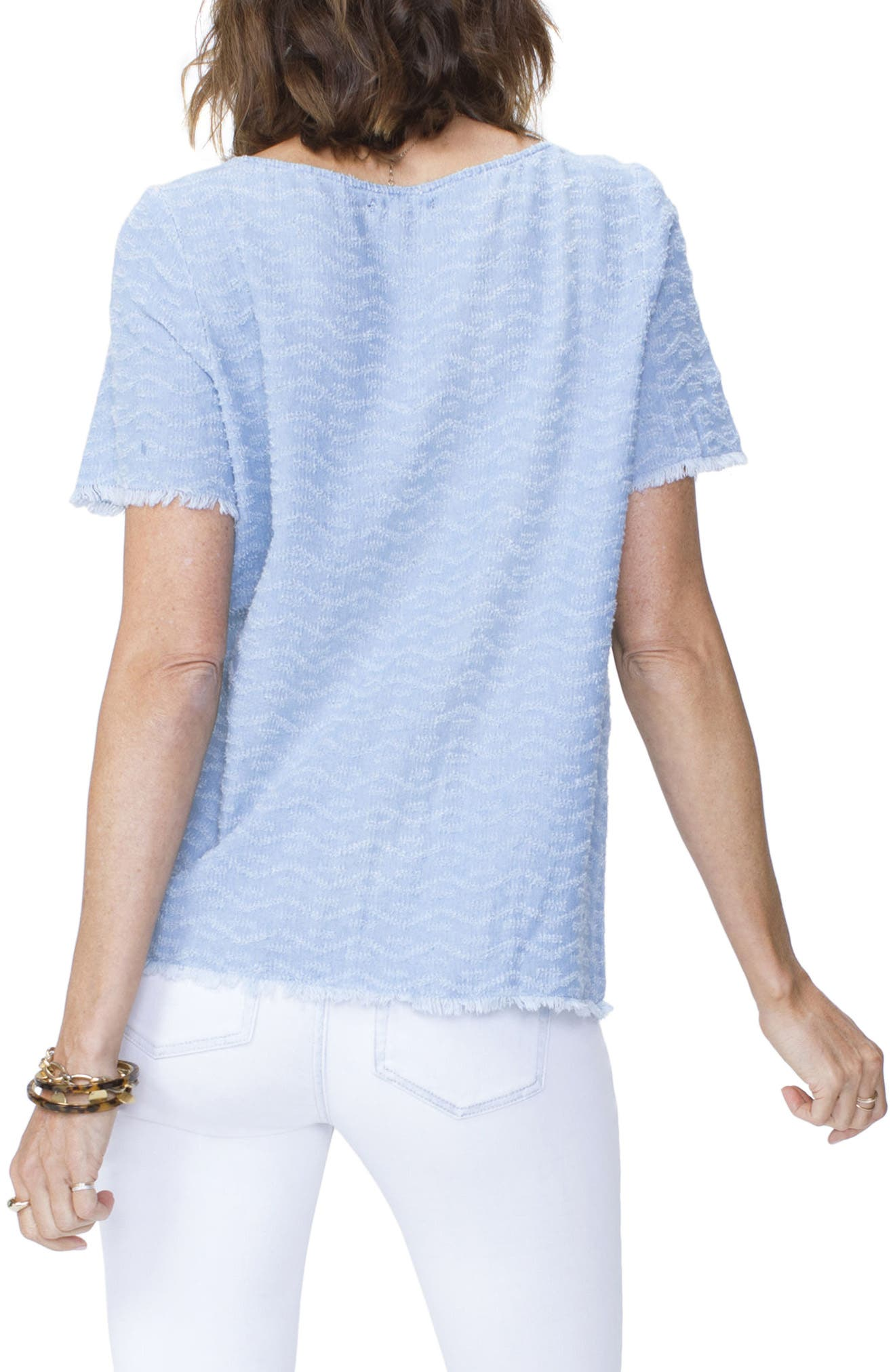 Textured Woven Tee,                             Alternate thumbnail 2, color,                             Tidal Wave Wash