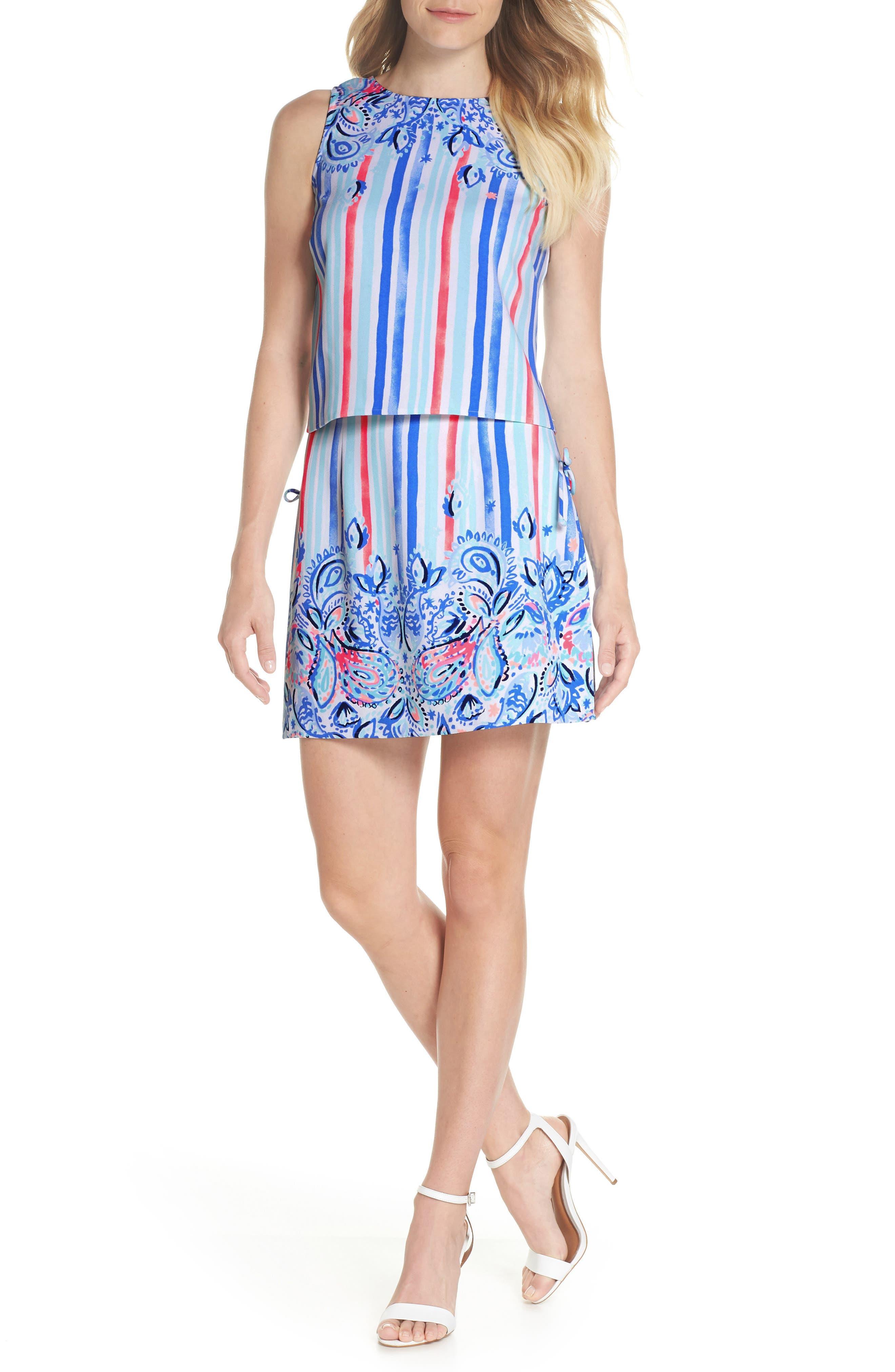 Donna Romper Dress,                             Main thumbnail 1, color,                             Resort White Stripes And Str