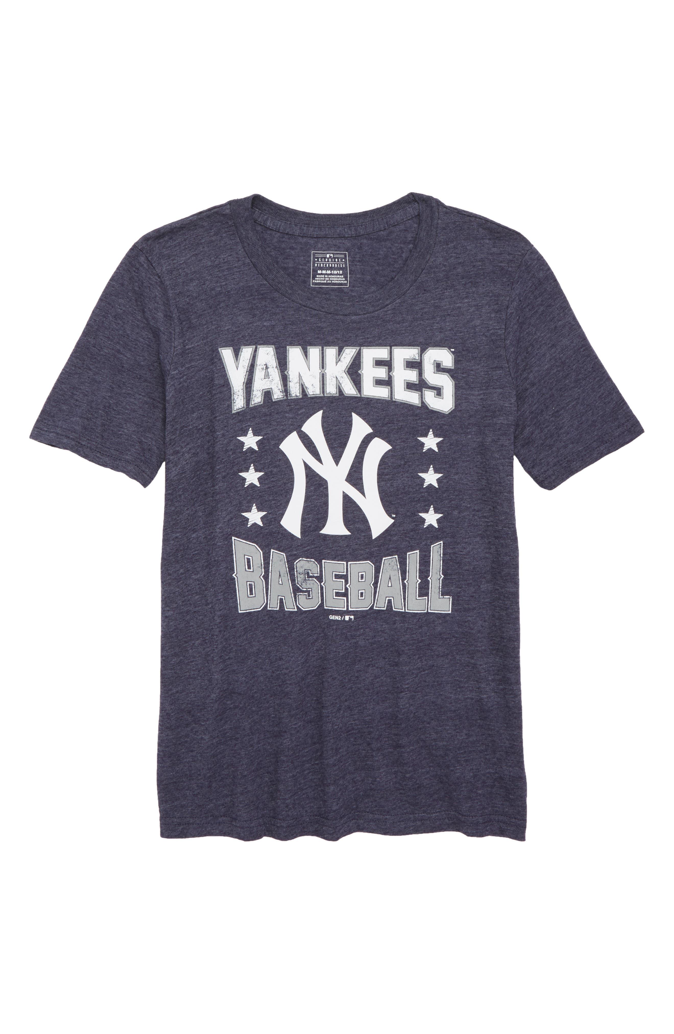 New York Yankees Triple Play T-Shirt,                             Main thumbnail 1, color,                             Navy