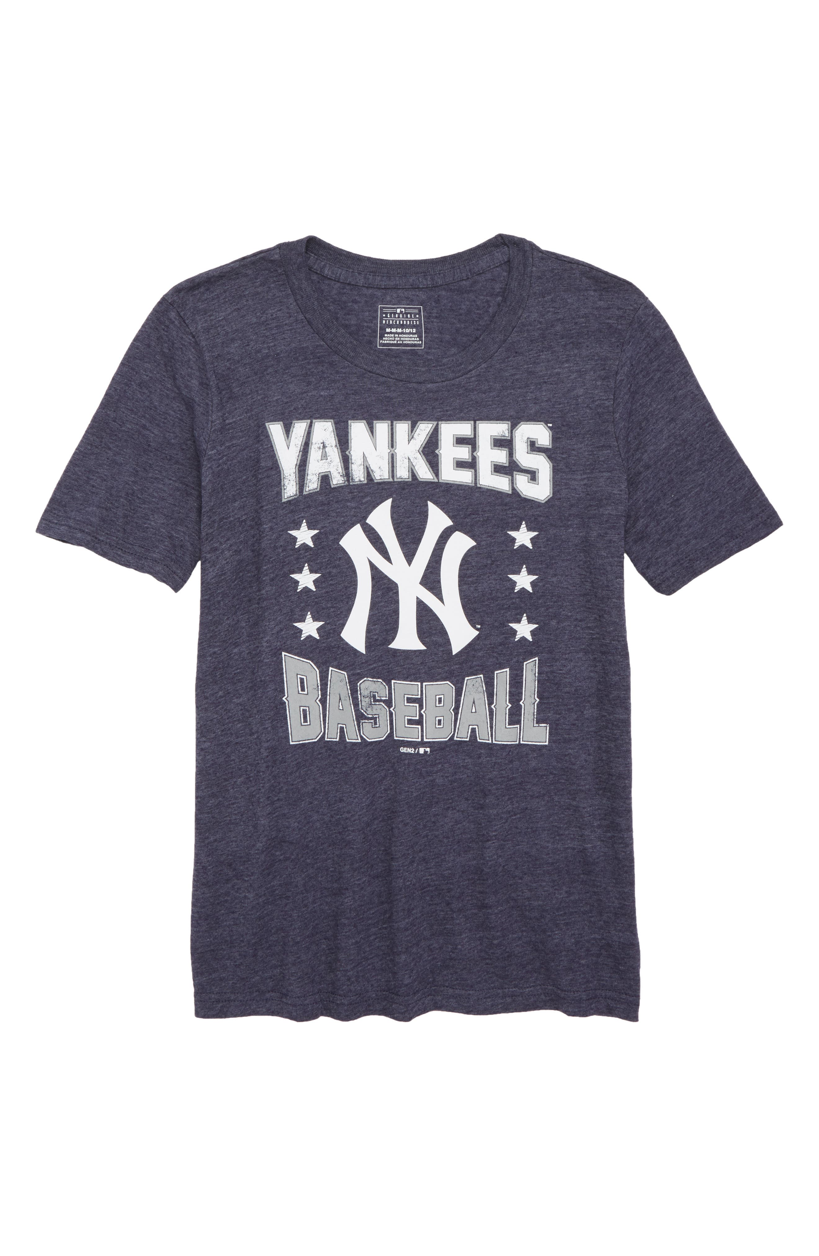 New York Yankees Triple Play T-Shirt,                         Main,                         color, Navy