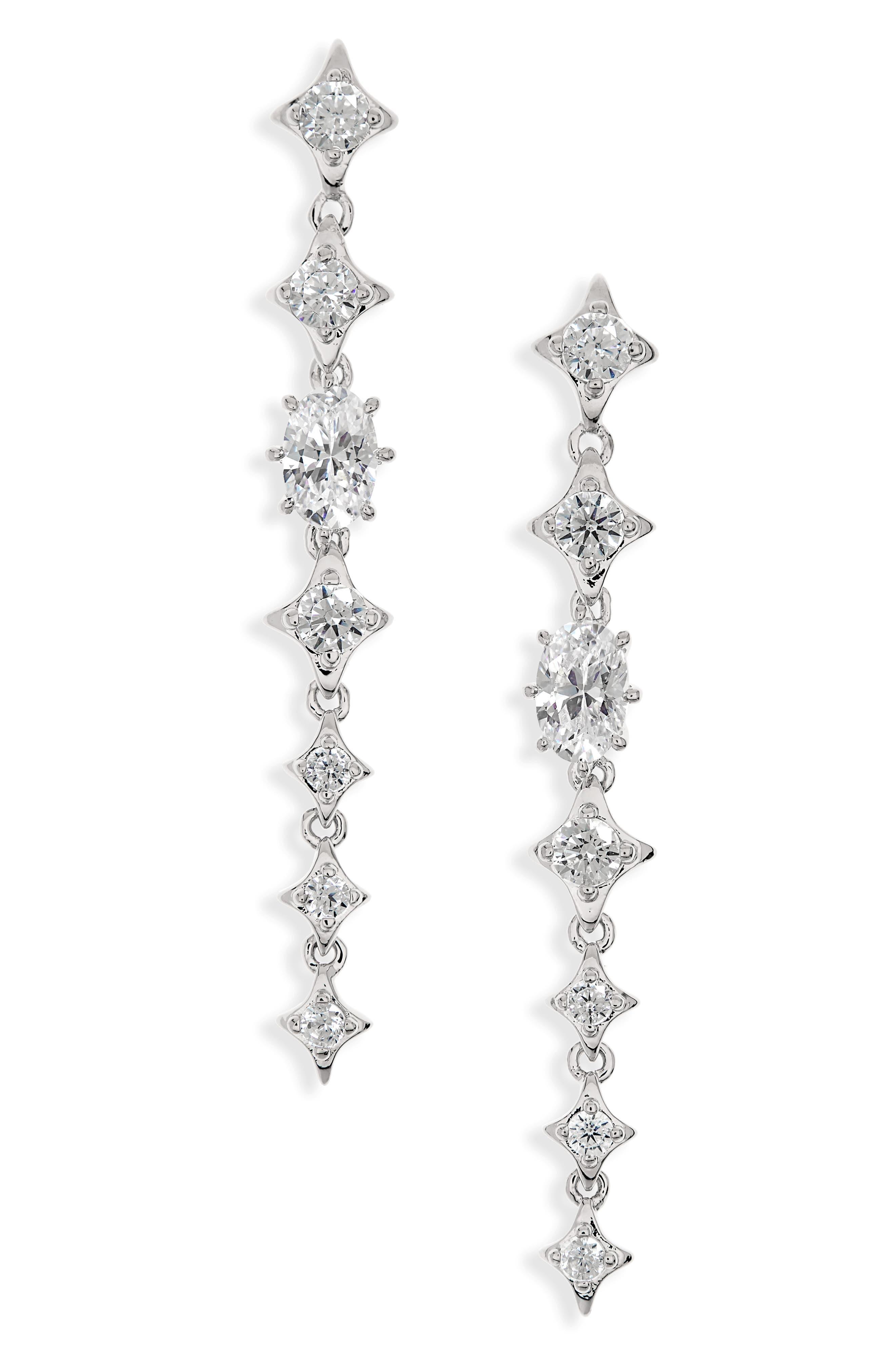 Boho Linear Drop Earrings,                             Main thumbnail 1, color,                             Silver/ Clear