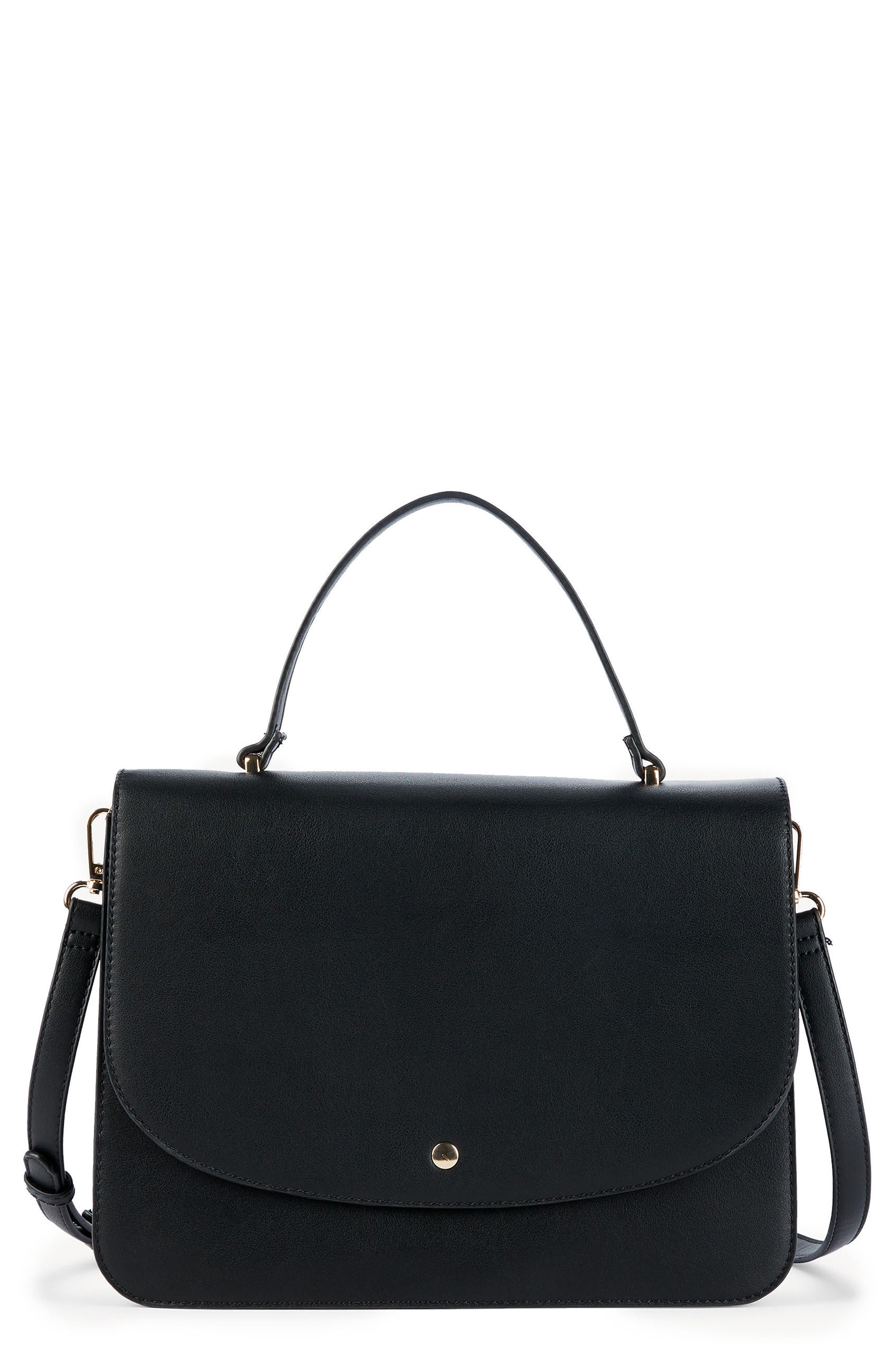 Elie Medium Faux Leather Satchel,                         Main,                         color, Black