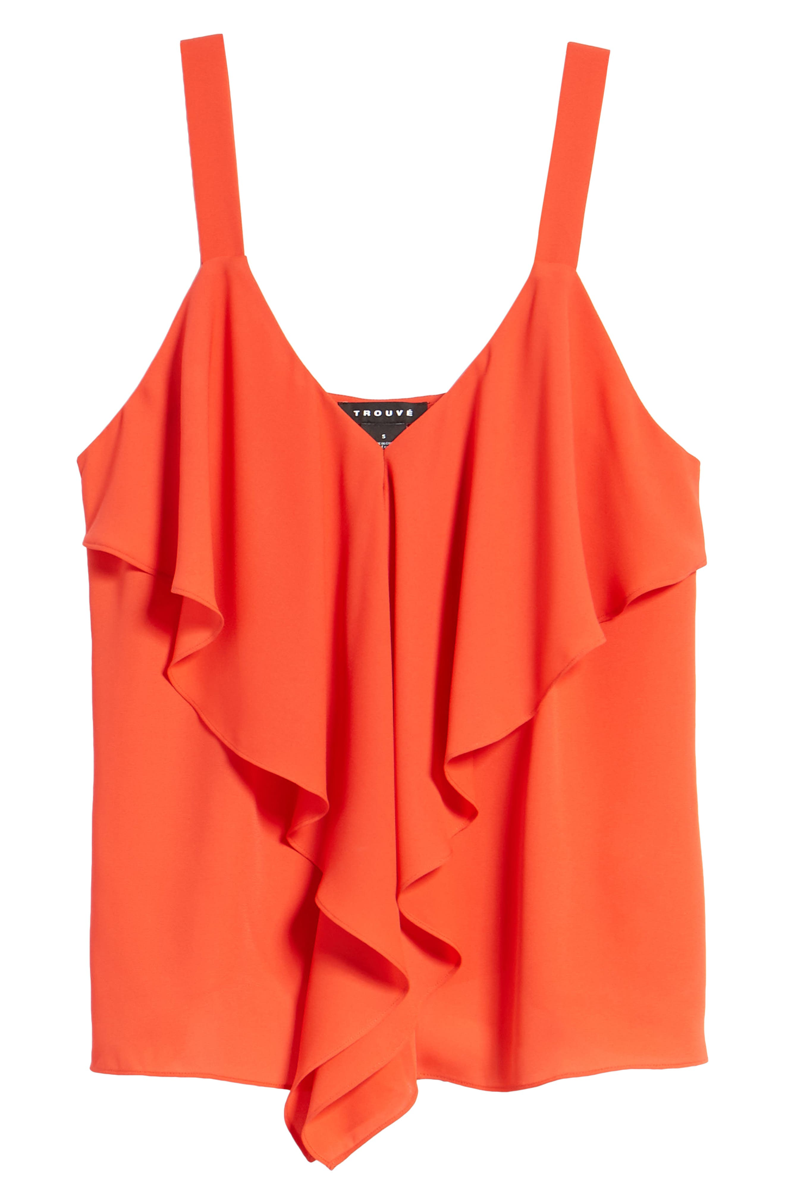 Ruffle Front Tank,                             Alternate thumbnail 6, color,                             Red Poppy