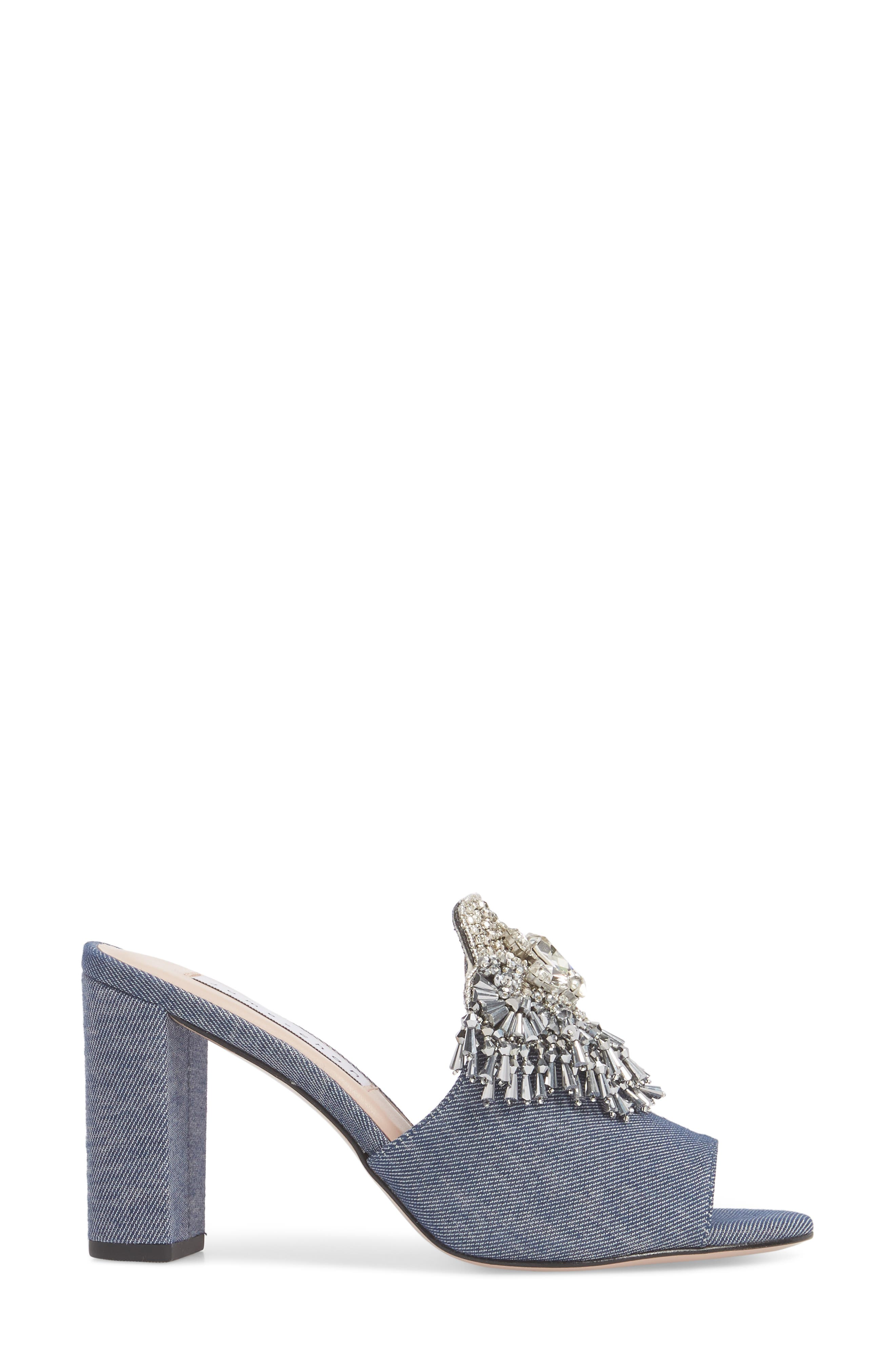 Adele Embellished Block Heel Sandal,                             Alternate thumbnail 3, color,                             Denim Patent