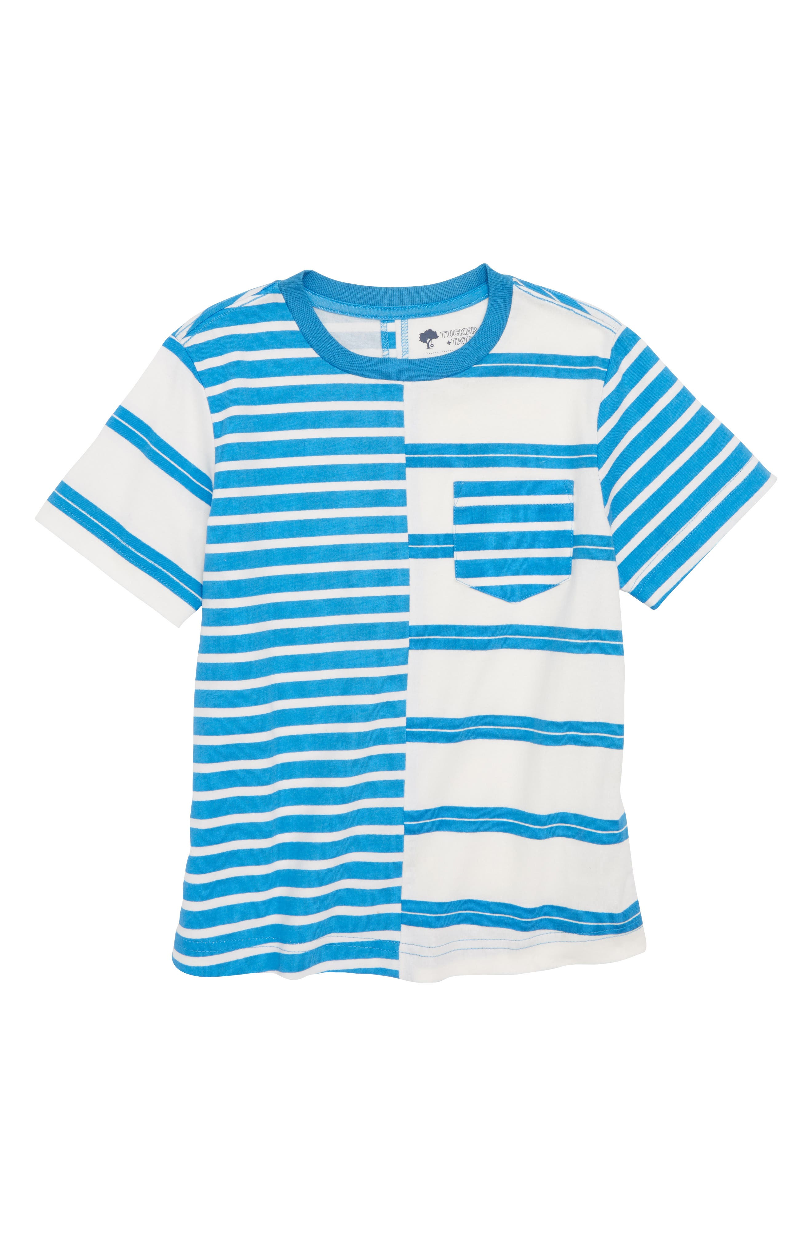 Spliced Stripe T-Shirt,                         Main,                         color, Blue French- White