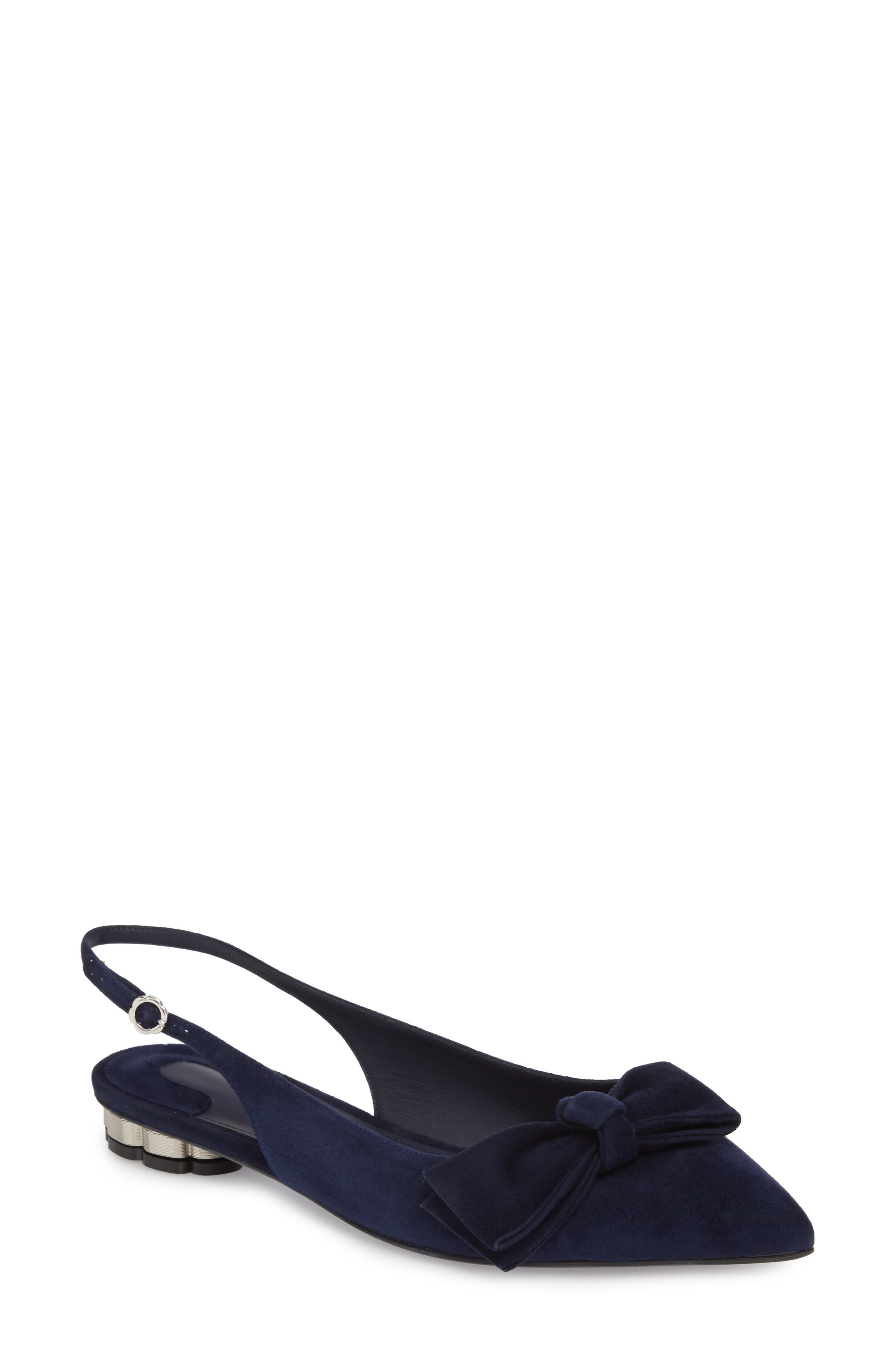 Aulla Slingback Flat,                         Main,                         color, Navy