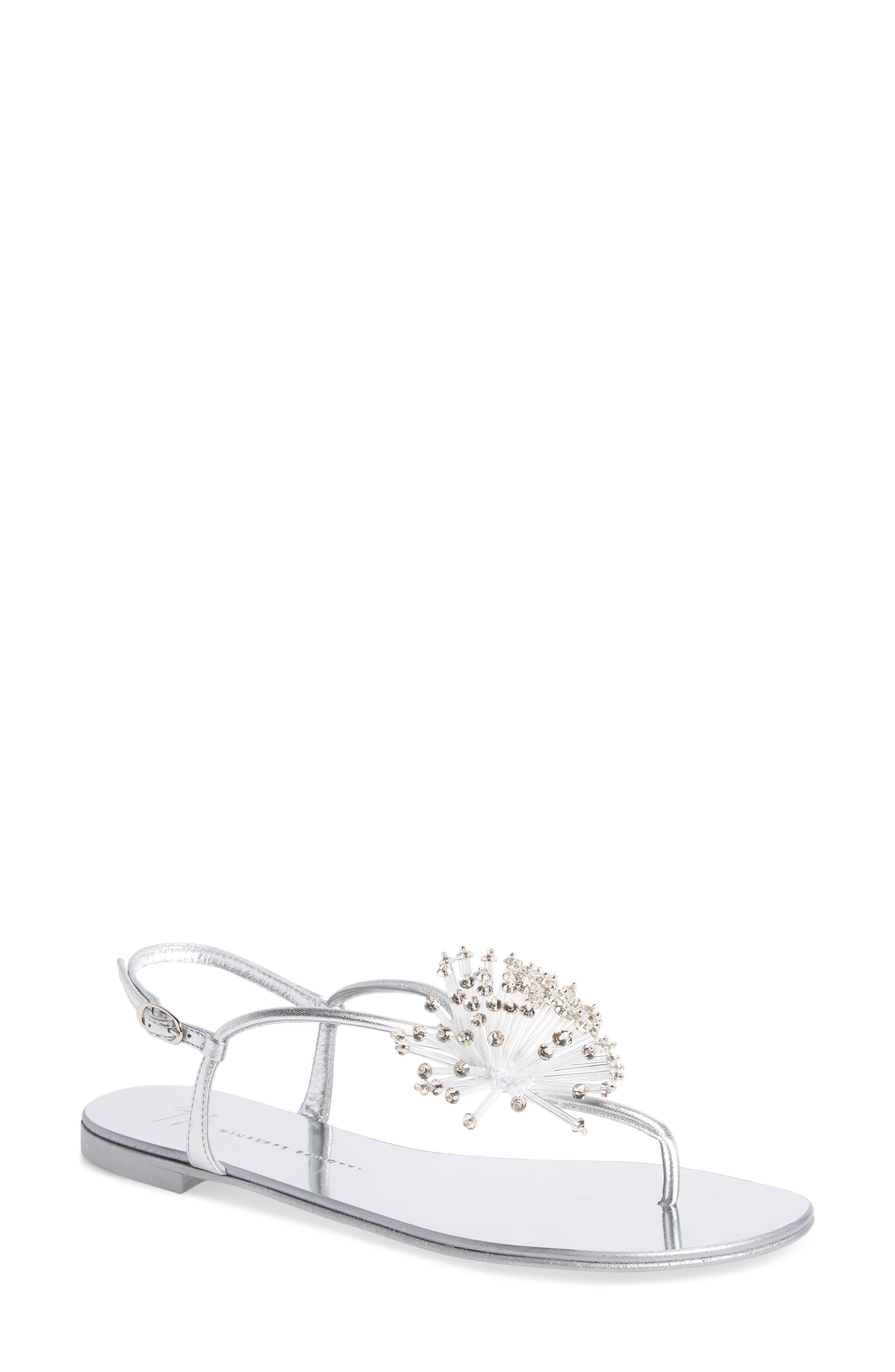 Guiseppe Zanotti Flower Burst Sandal,                         Main,                         color, Silver