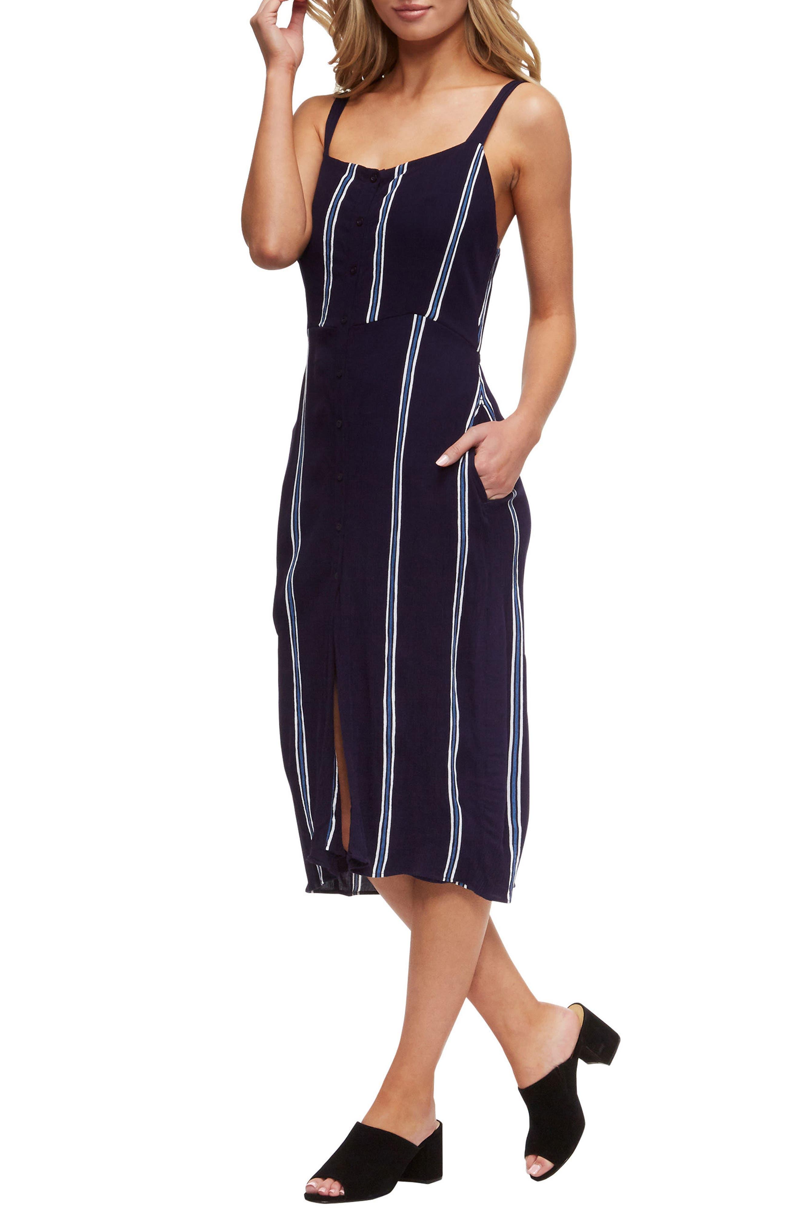Geni Cover-Up Dress,                             Alternate thumbnail 5, color,                             Evening Blue/White Stripe