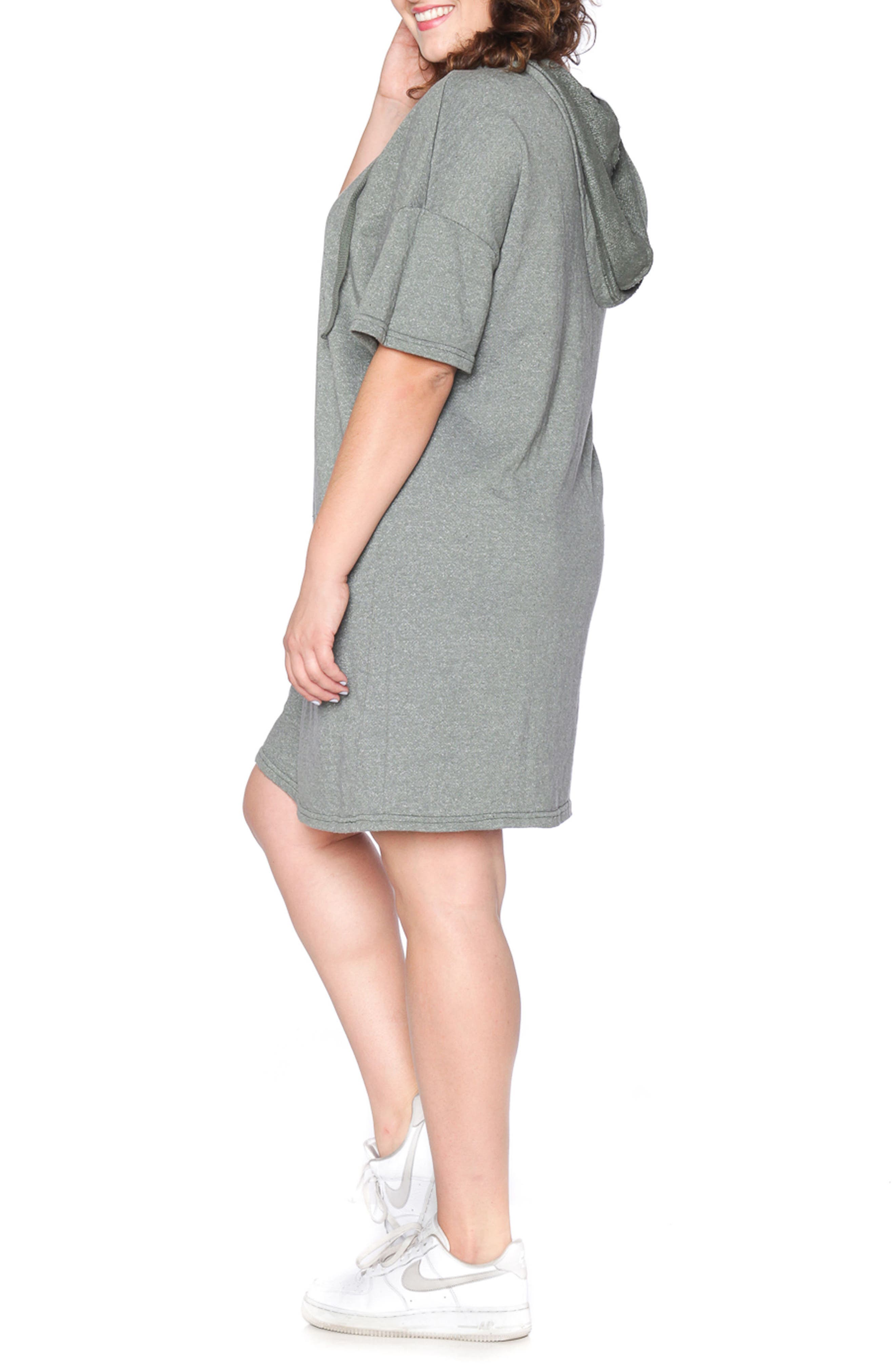 Lace-Up Hoodie Dress,                             Alternate thumbnail 3, color,                             Olive