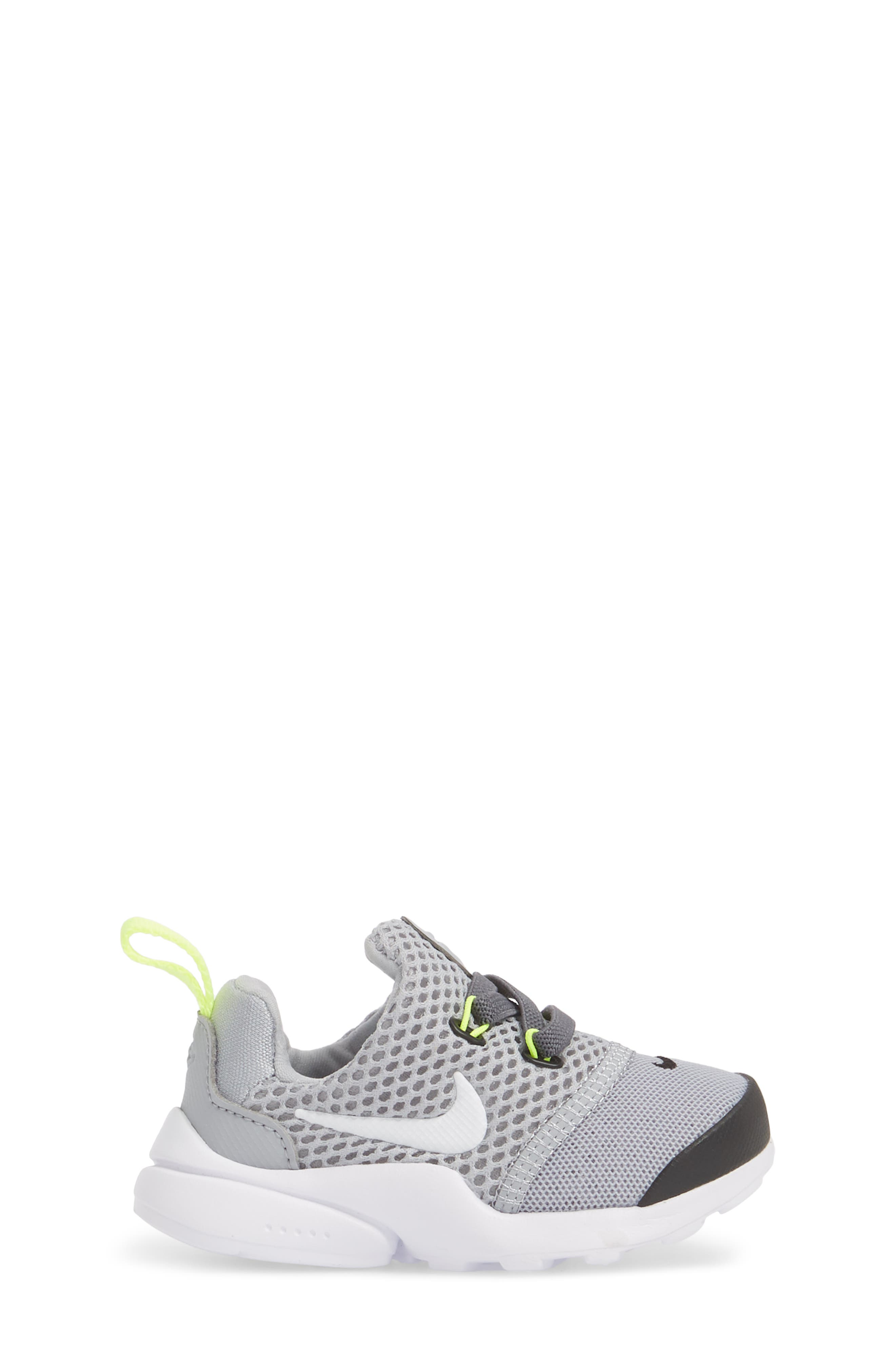 Presto Fly GS Sneaker,                             Alternate thumbnail 3, color,                             Grey/ White/ Black/ Volt