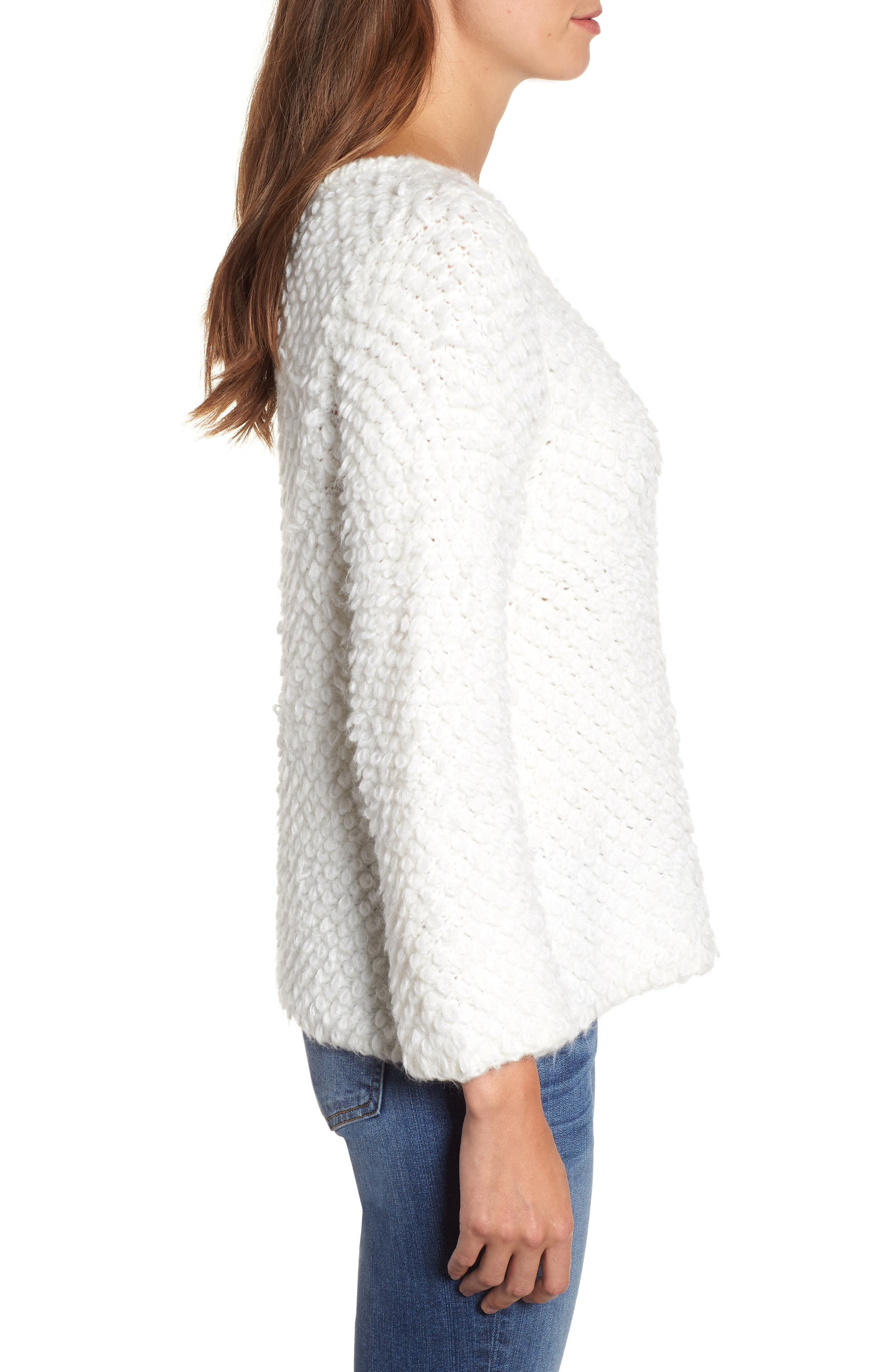 Loop Stitch Crewneck Sweater,                             Alternate thumbnail 3, color,                             Ivory Cloud