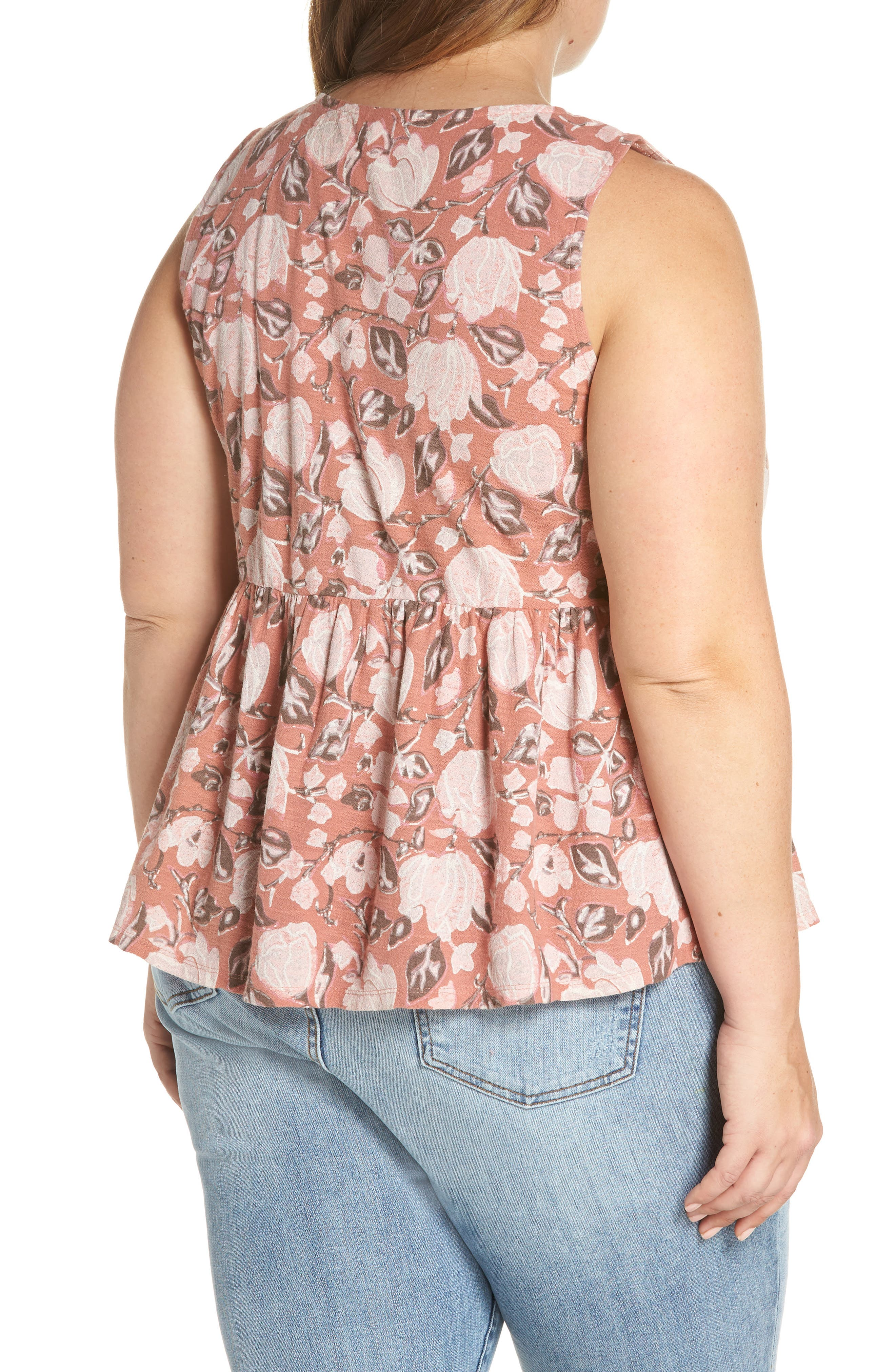 Floral Knot Neck Tank,                             Alternate thumbnail 2, color,                             Coral Multi
