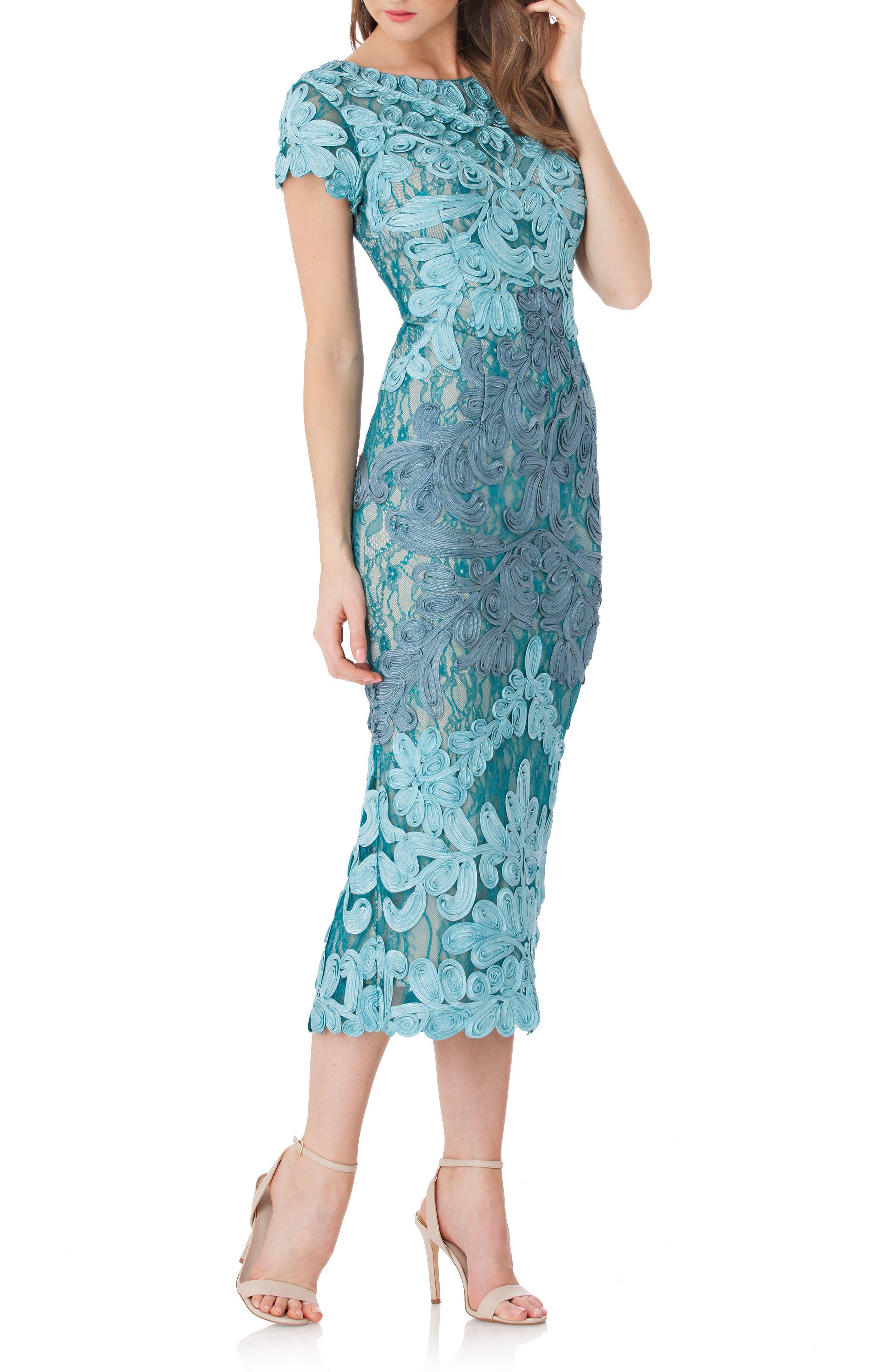 Soutache Lace Midi Dress,                         Main,                         color, Azure/ Grey