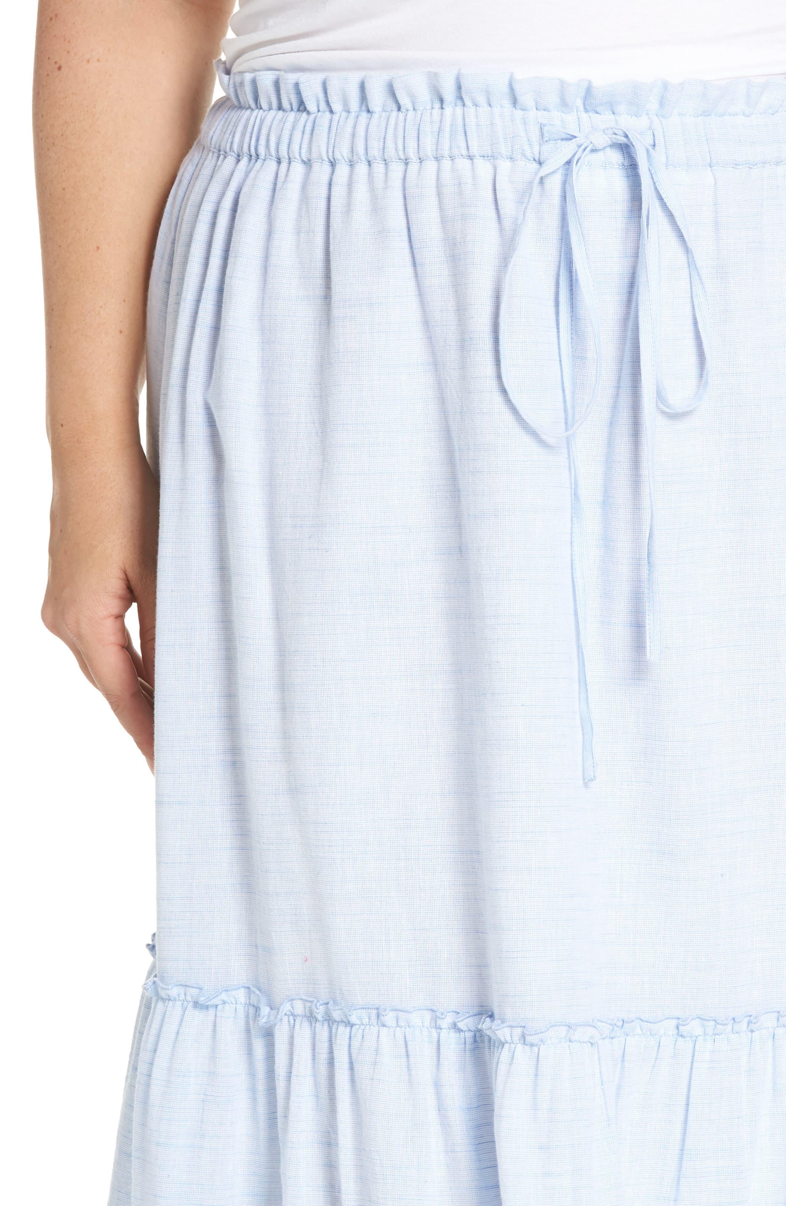 Ruffle Hem Maxi Skirt,                             Alternate thumbnail 4, color,                             Blue- White Pattern