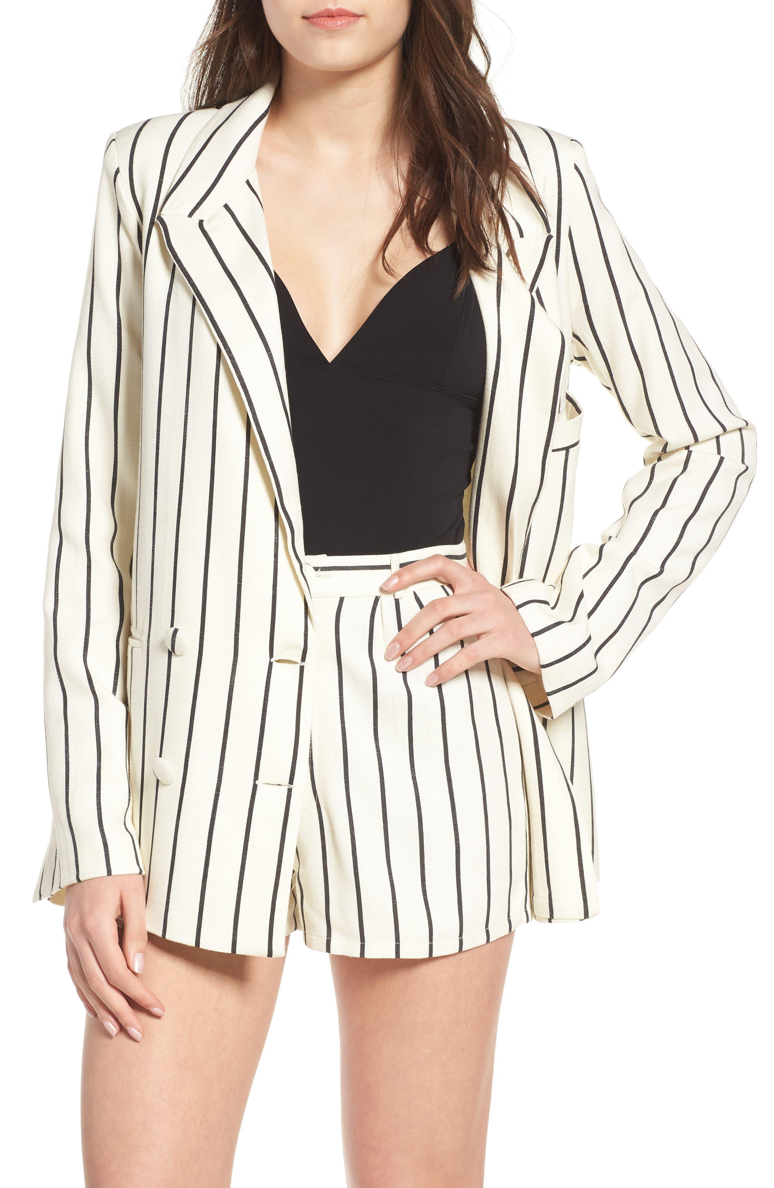 Fanning Stripe Blazer,                         Main,                         color, Natural And Black