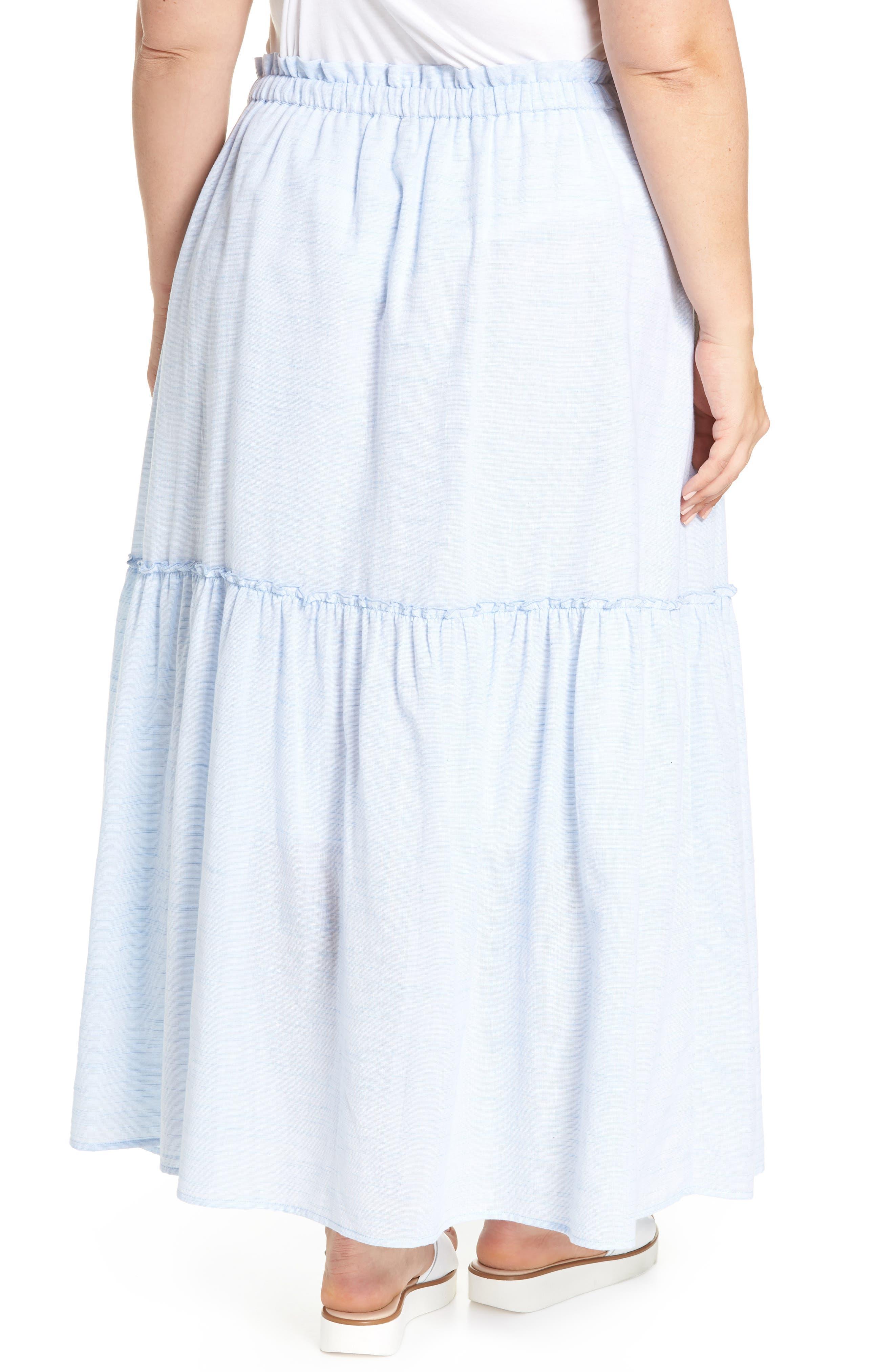 Ruffle Hem Maxi Skirt,                             Alternate thumbnail 2, color,                             Blue- White Pattern