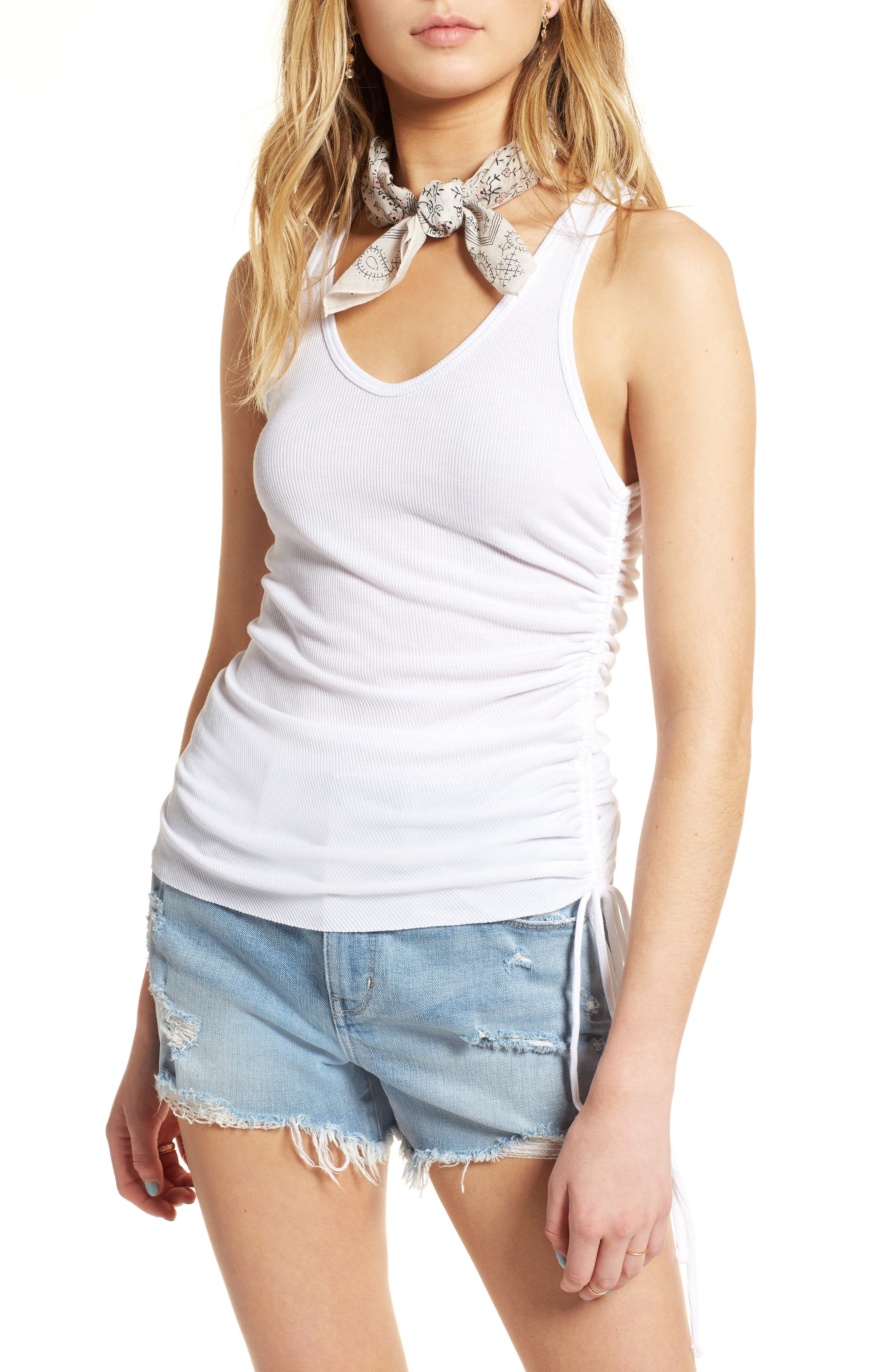 Ribbed Side Cinch Tank,                         Main,                         color, White