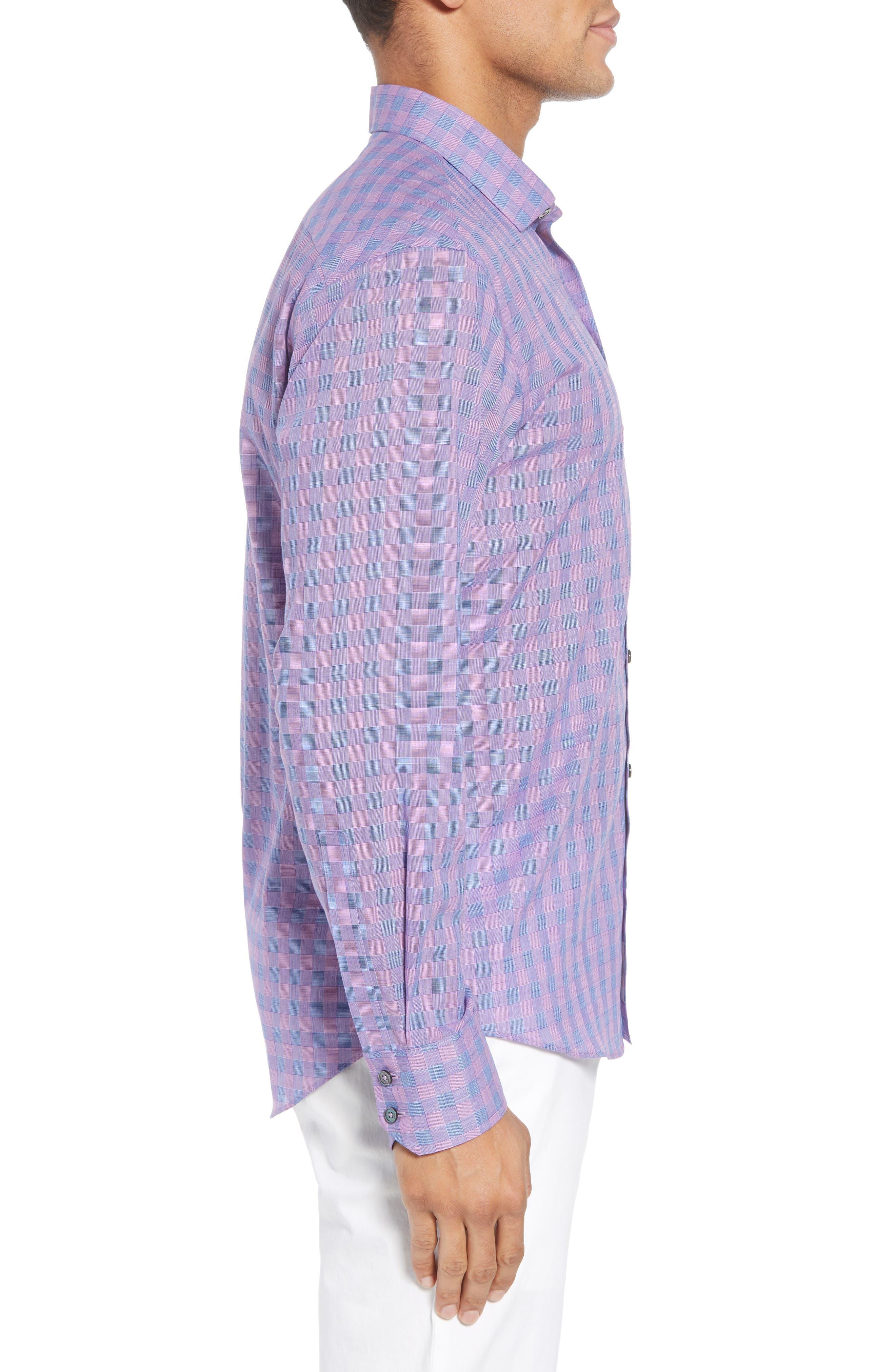 Schwantes Plaid Sport Shirt,                             Alternate thumbnail 4, color,                             Purple