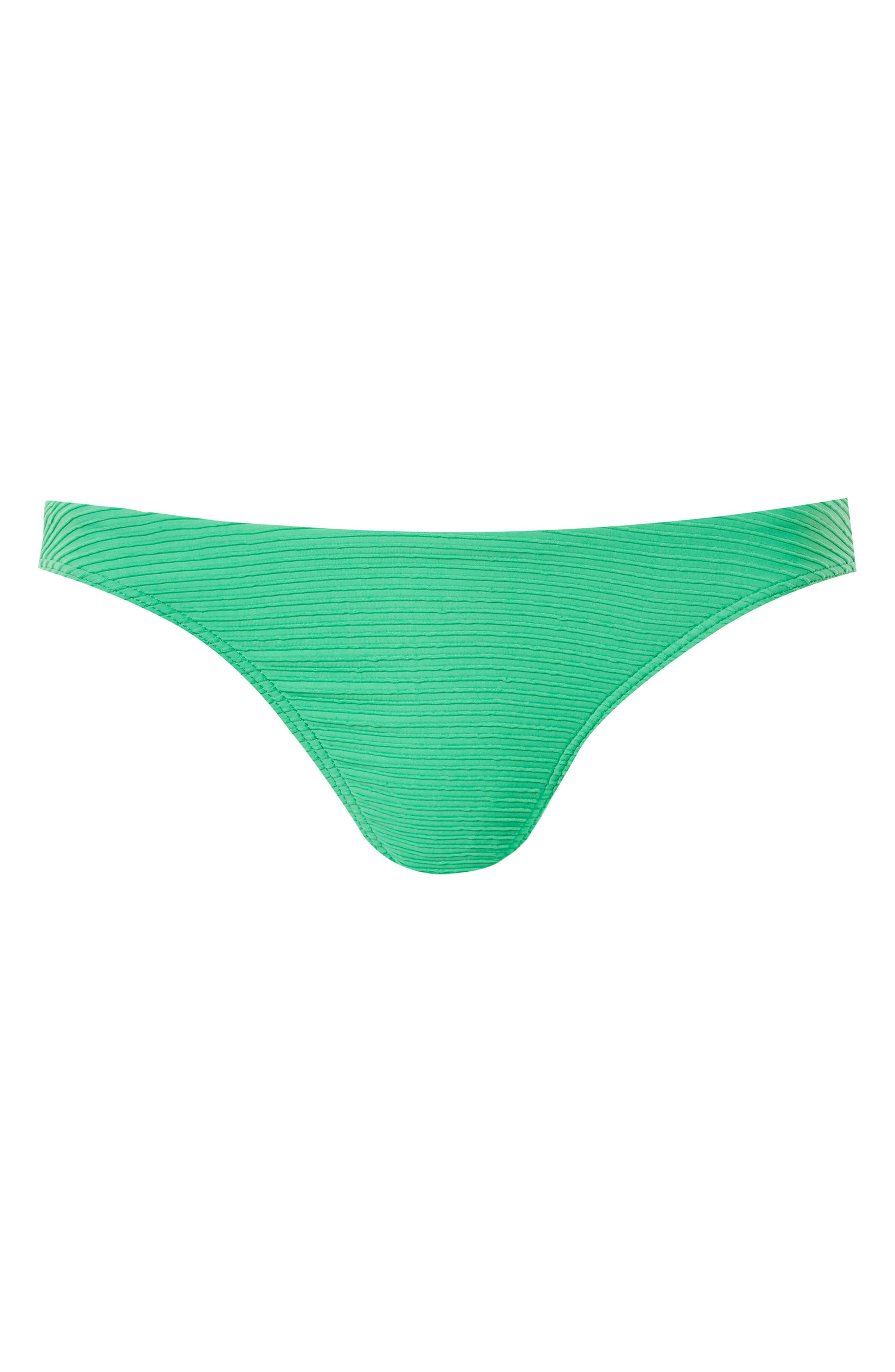 Ribbed High Leg Bikini Bottoms,                             Alternate thumbnail 4, color,                             Green