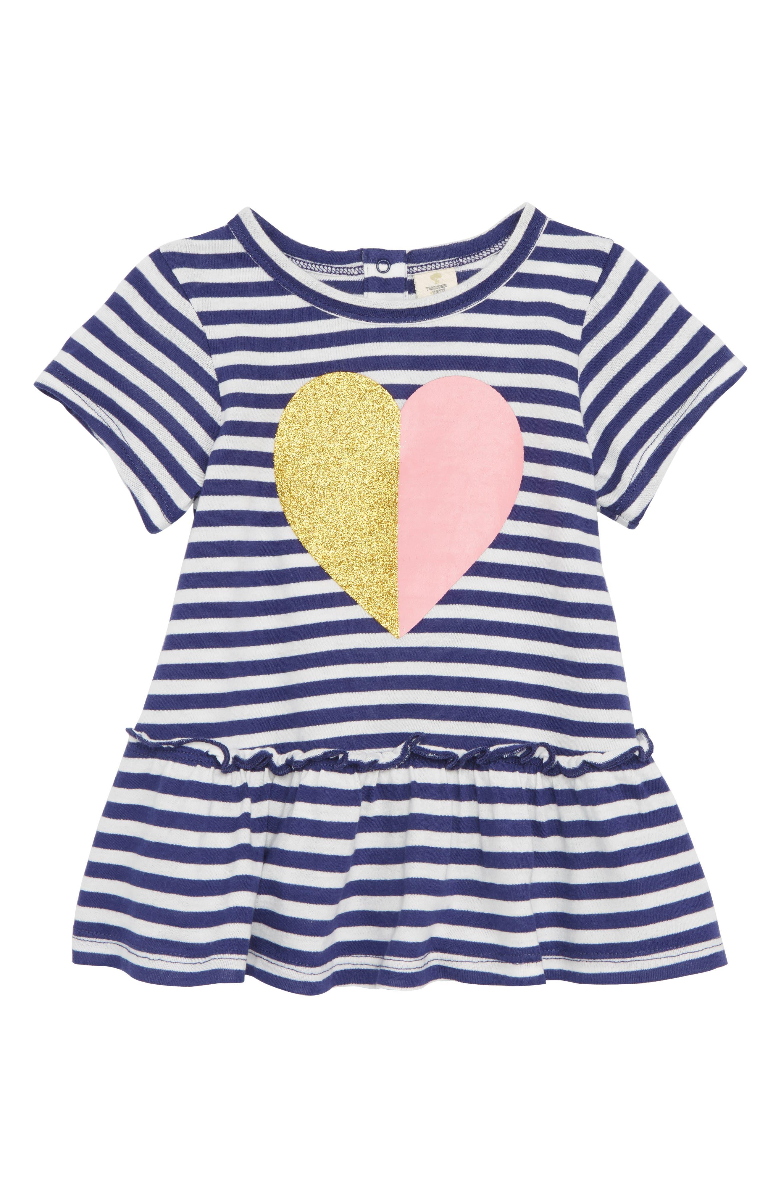 Stripe Peplum Graphic Top,                         Main,                         color, Navy Ribbon Sparkle Heart