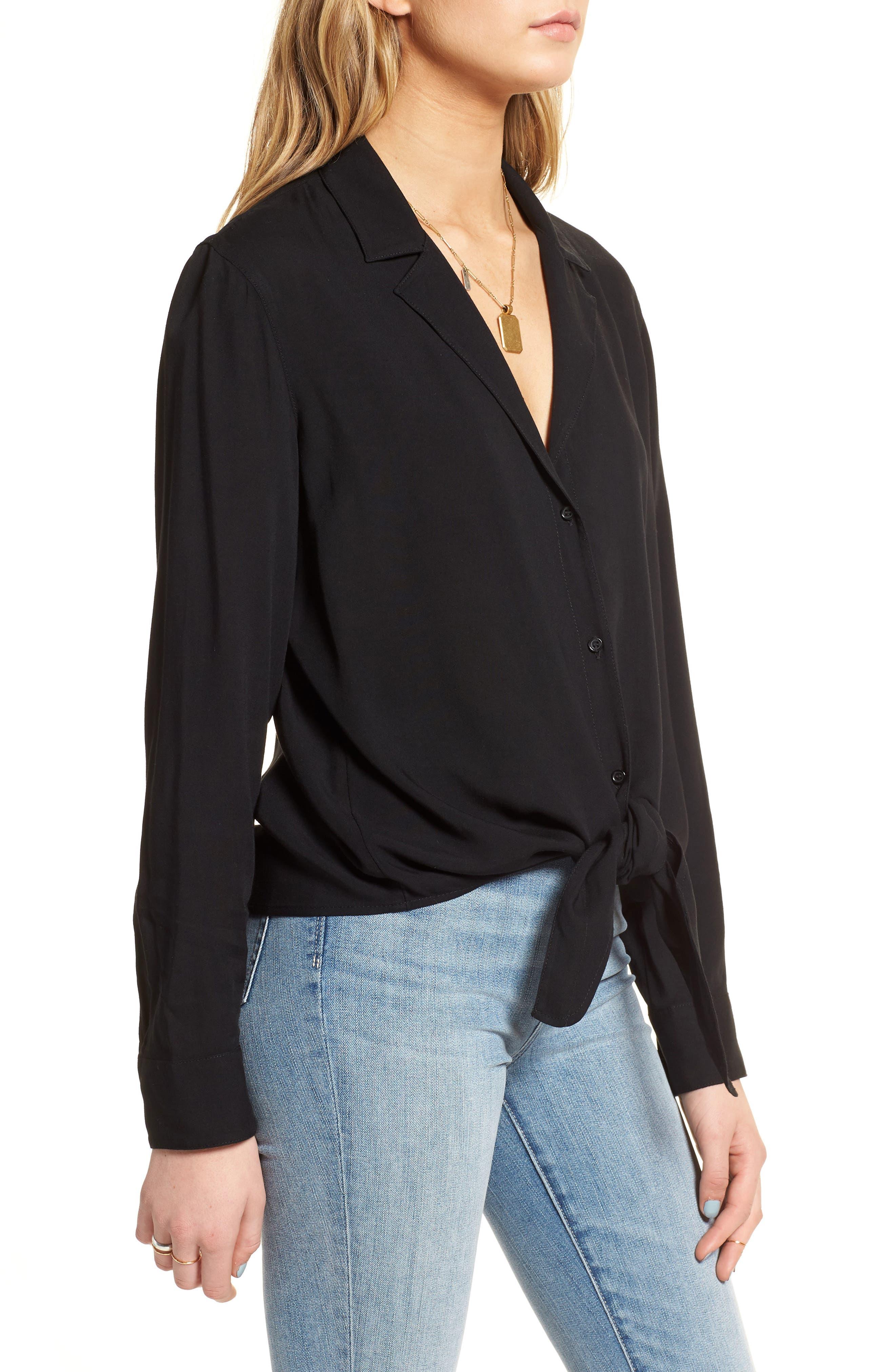 Tie Front Shirt,                             Alternate thumbnail 3, color,                             Black