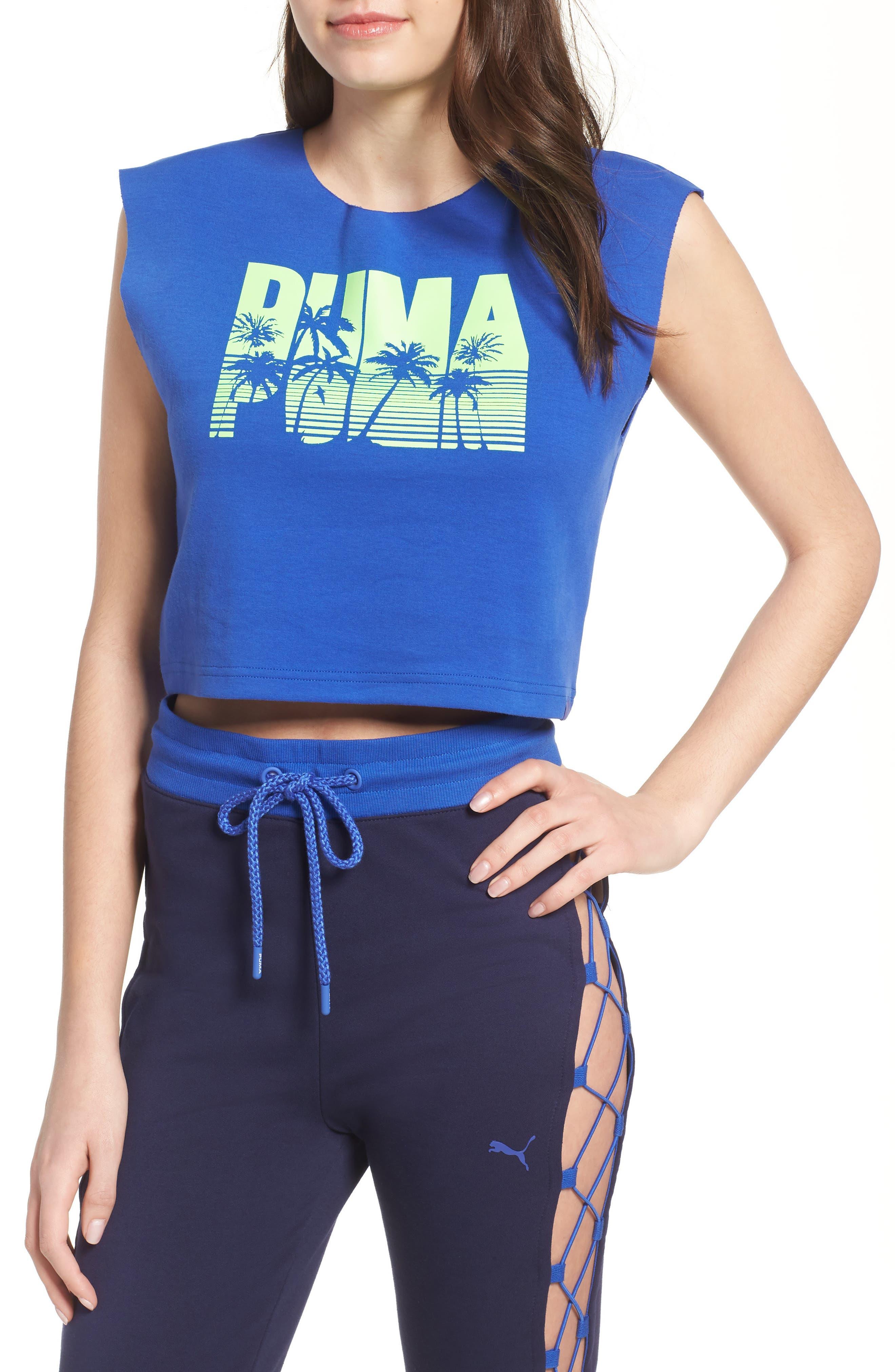 FENTY PUMA by Rihanna Logo Crop Top,                             Main thumbnail 1, color,                             Dazzling Blue