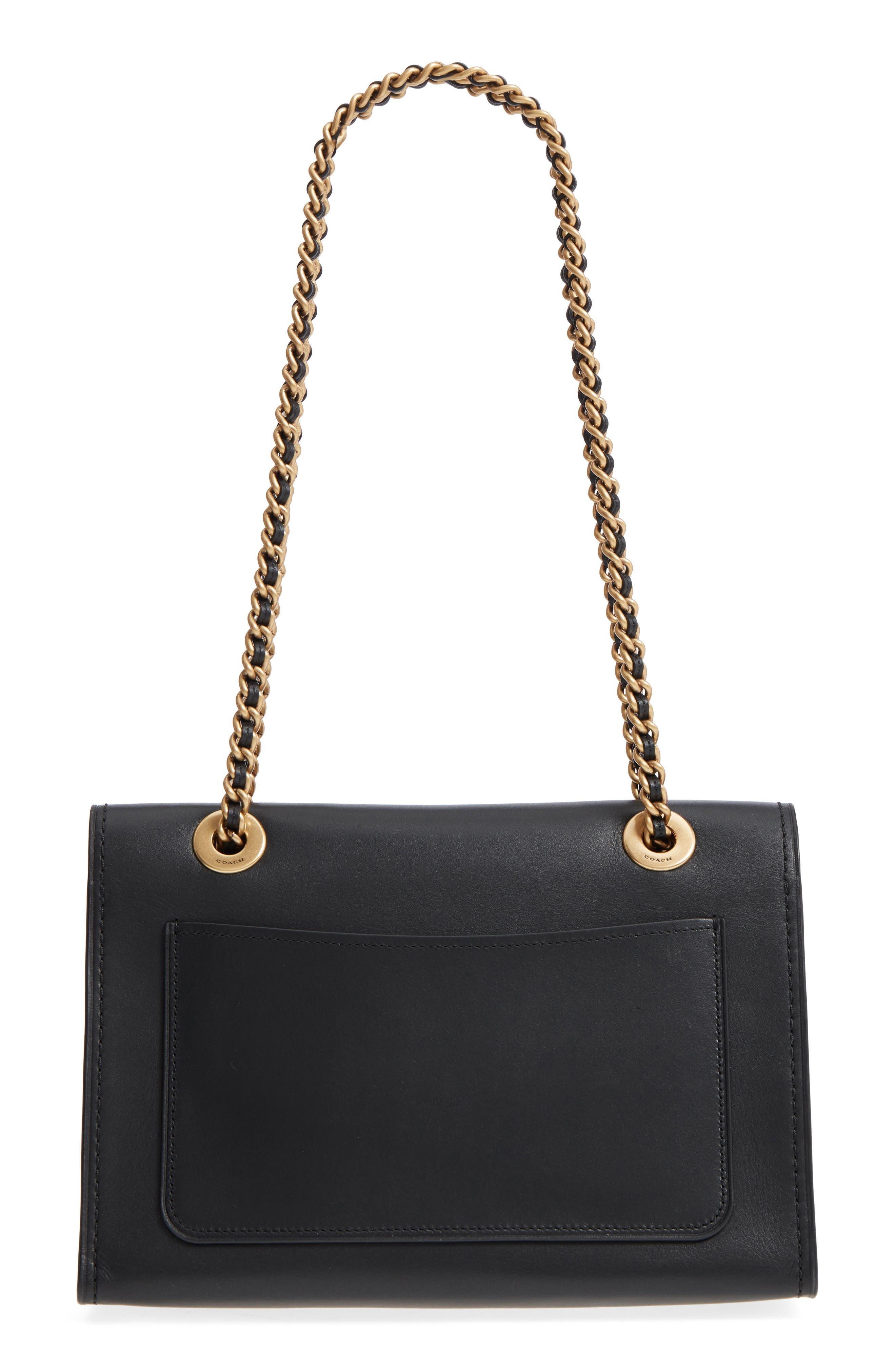 Parker Leather Shoulder Bag,                             Alternate thumbnail 3, color,                             Black