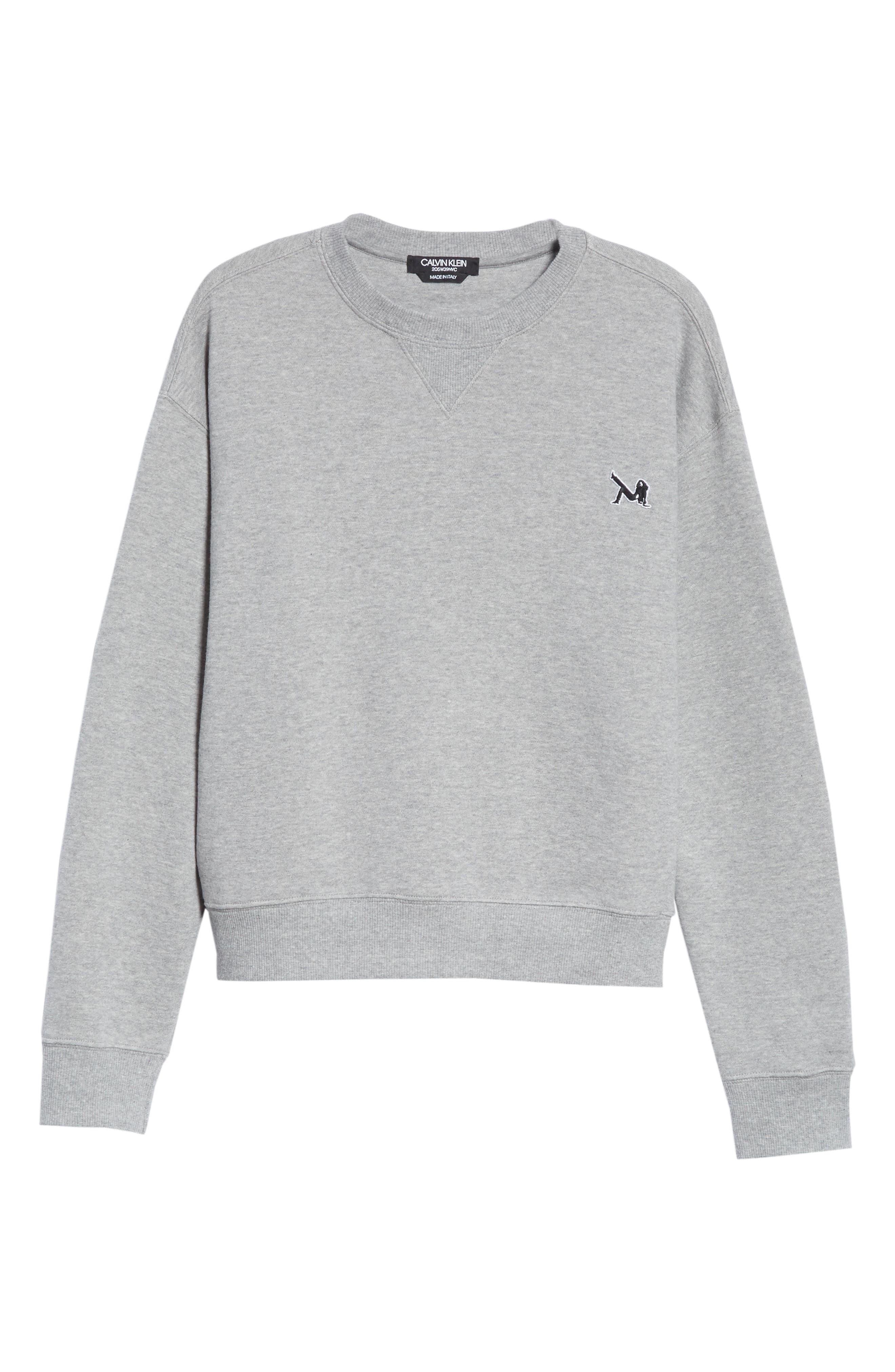 Brooke Shields Patch Sweatshirt,                             Alternate thumbnail 6, color,                             Grey