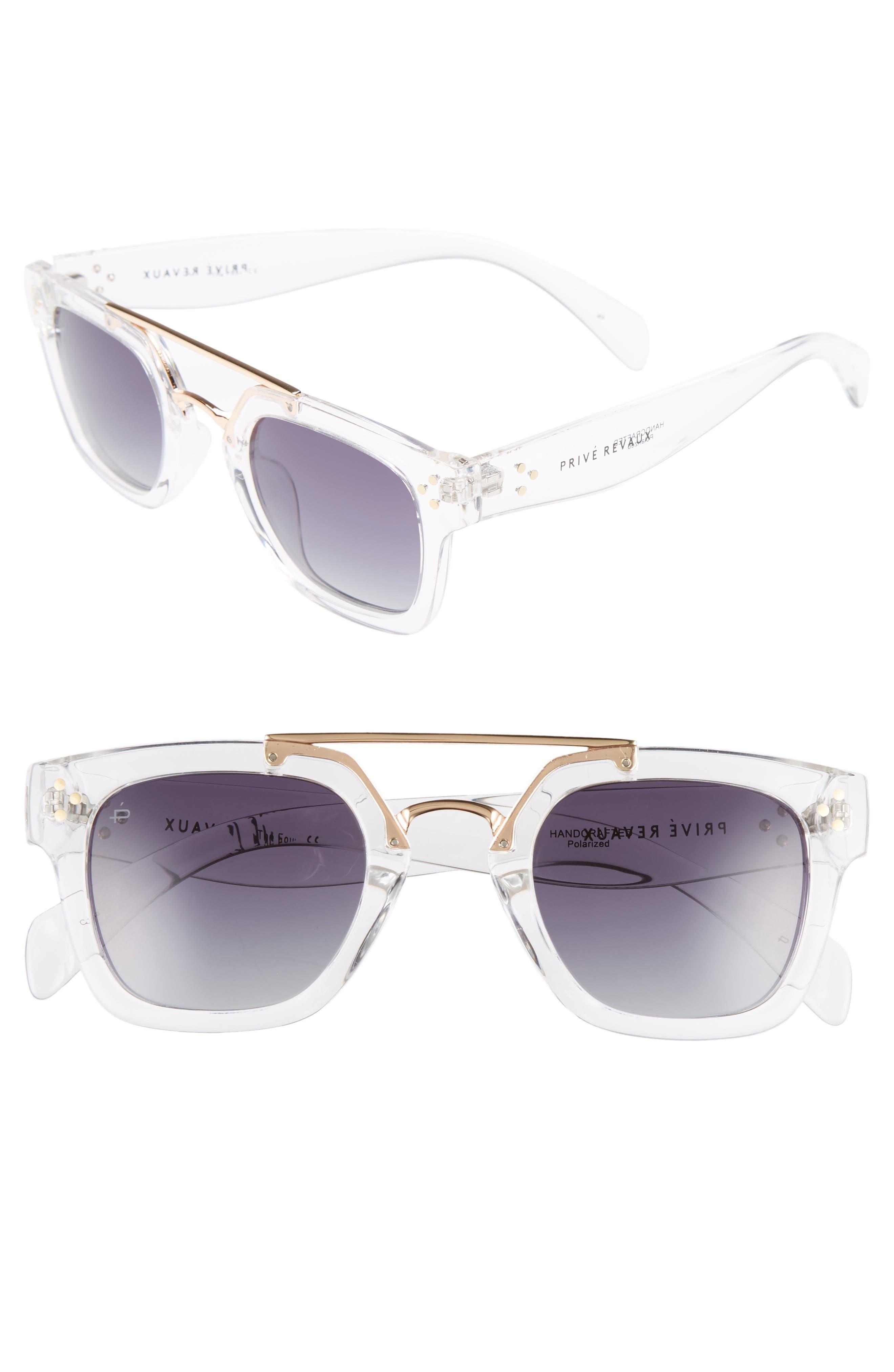 Privé Revaux The Foxx 49mm Aviator Sunglasses,                         Main,                         color, Clear