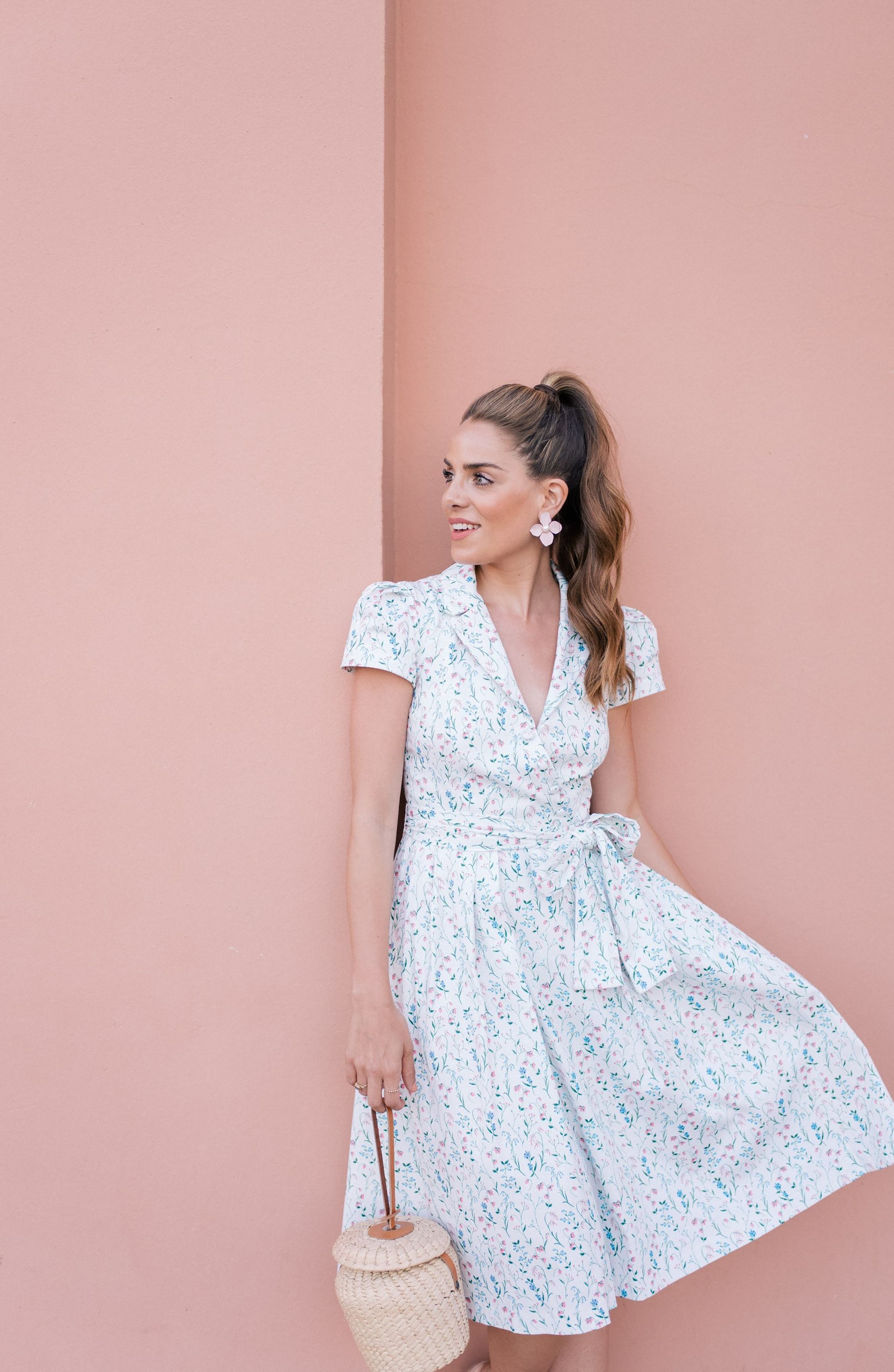 Anne Spring Sprig Print Wrap Style Dress,                             Alternate thumbnail 2, color,                             Pink