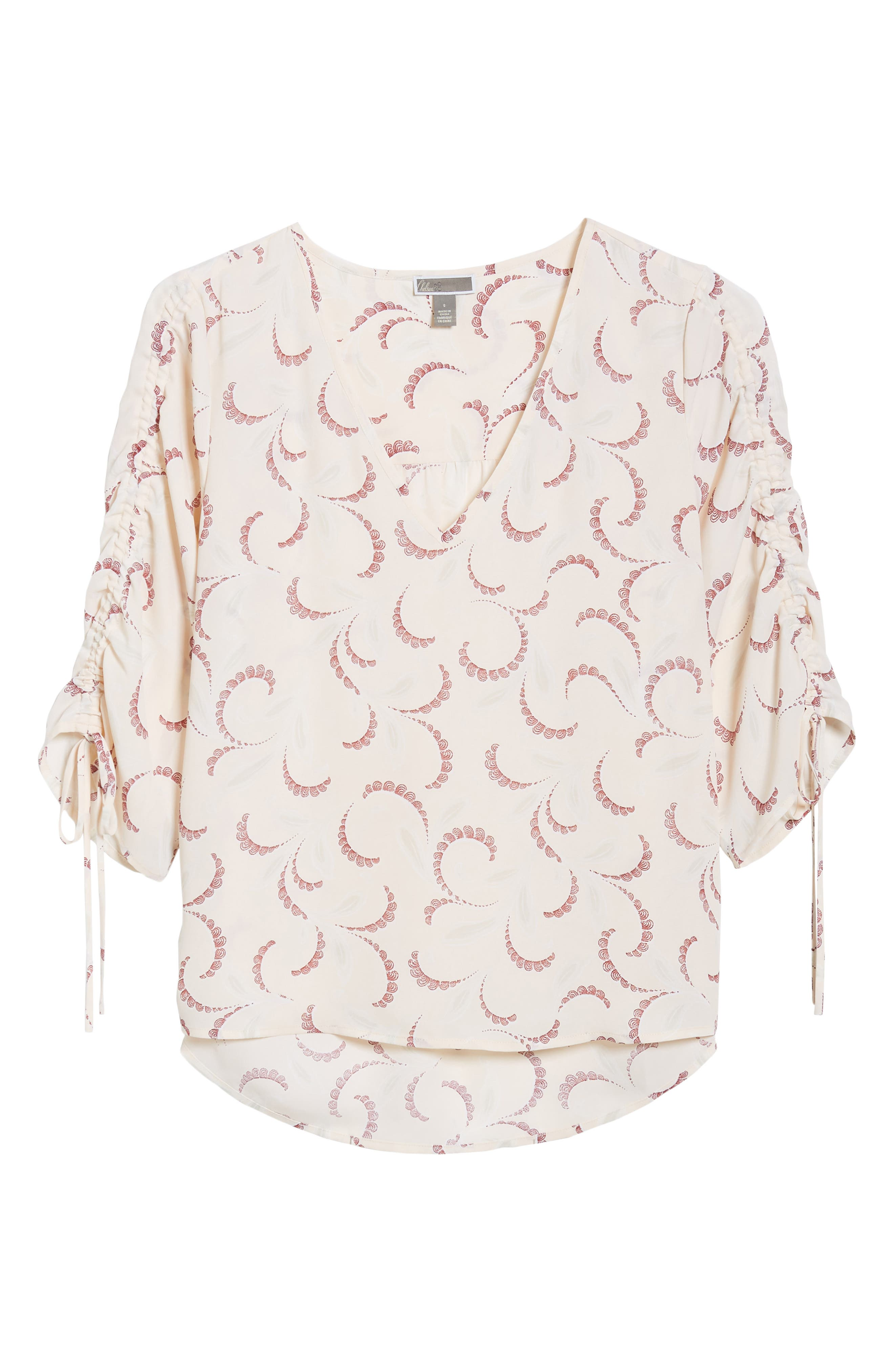 Print Ruched Sleeve Top,                             Alternate thumbnail 7, color,                             Pink Peony Bud Soft Swirls