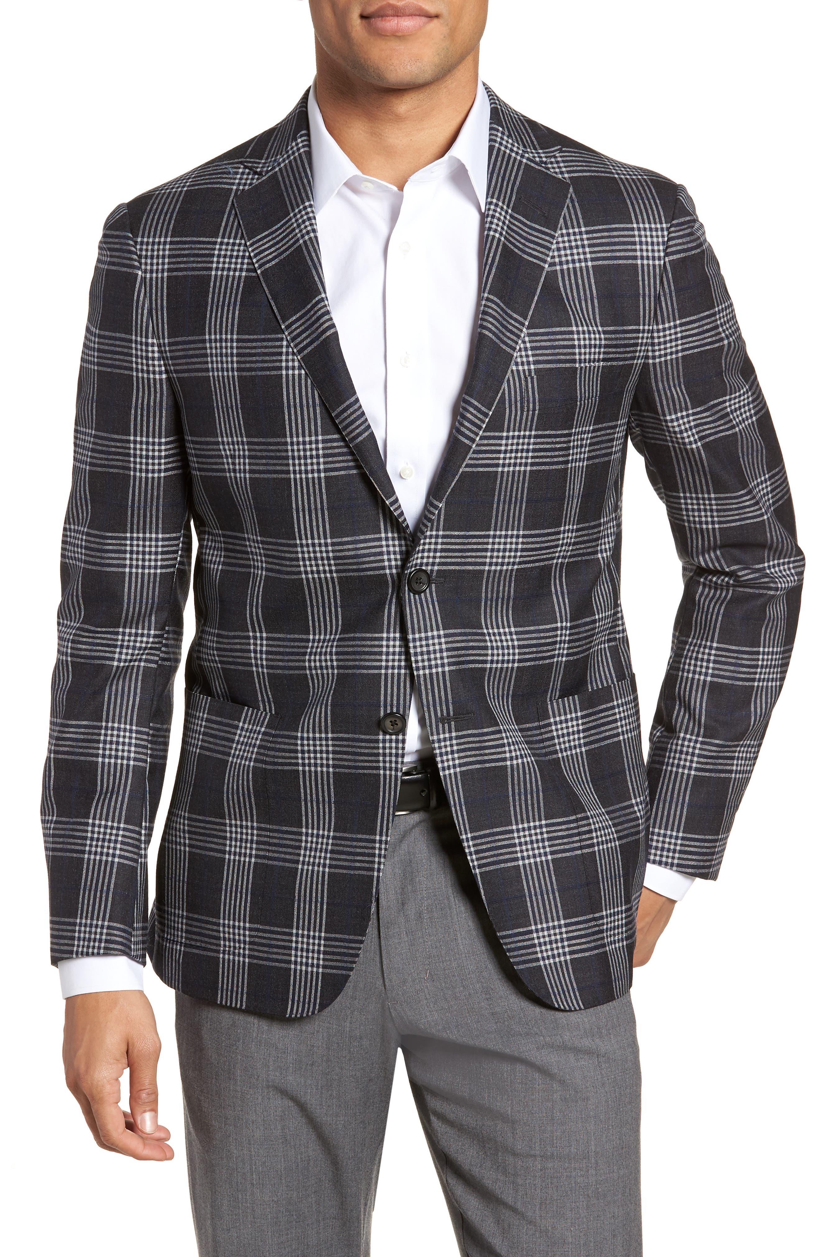 Modern Fit Plaid Wool & Silk Sport Coat,                             Main thumbnail 1, color,                             Charcoal