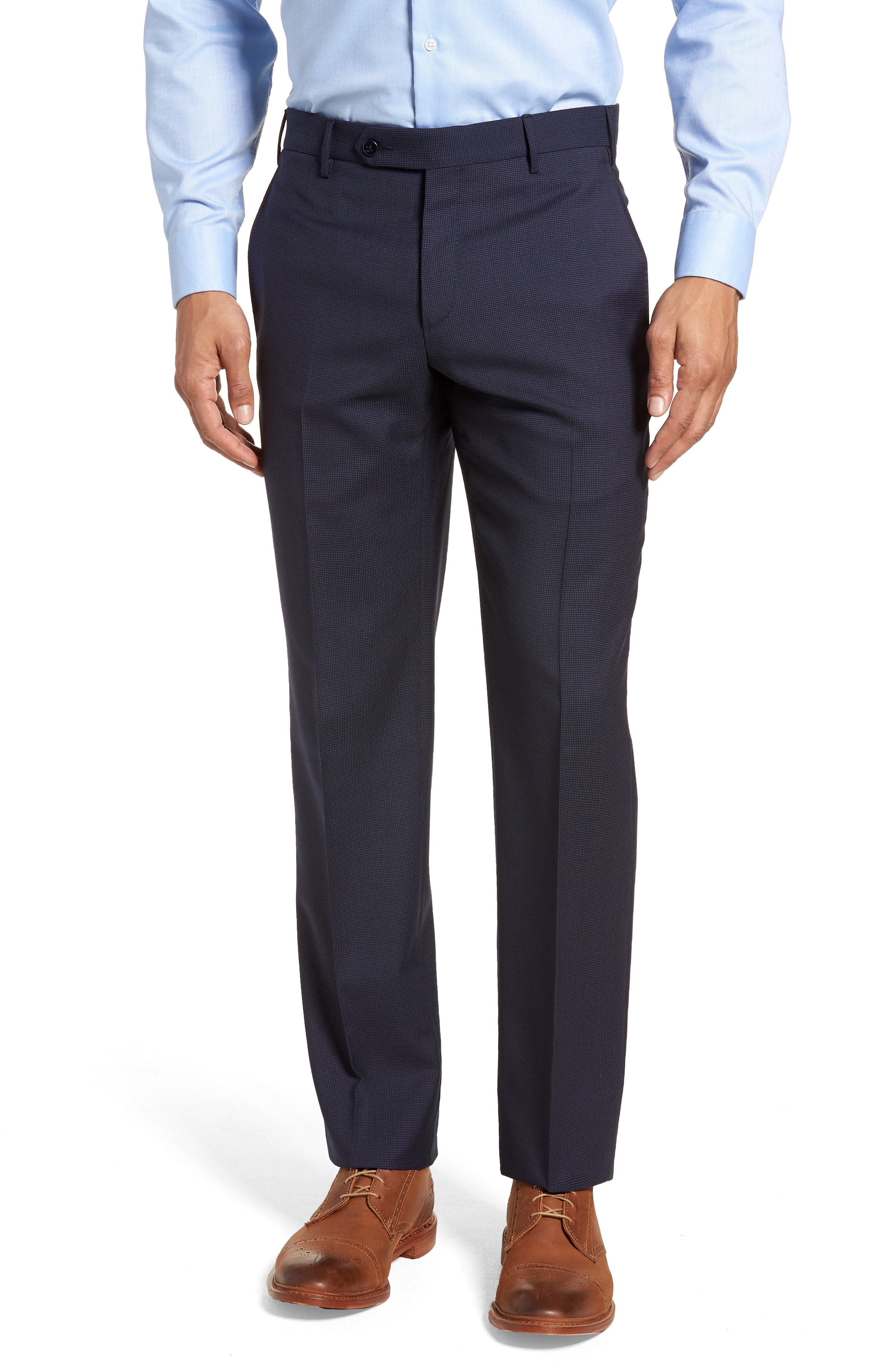 Parker Flat Front Pindot Wool Trousers,                             Main thumbnail 1, color,                             Navy