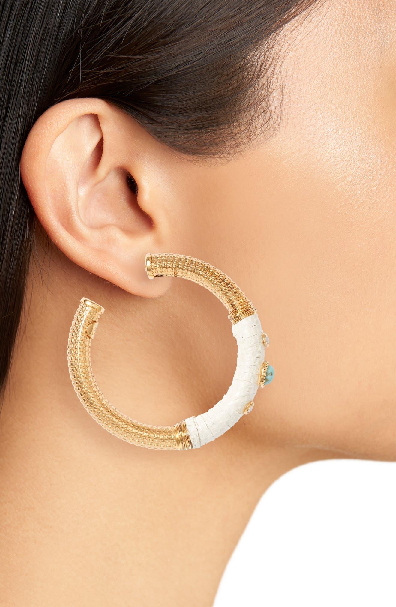 Hoop Earrings,                             Alternate thumbnail 2, color,                             White