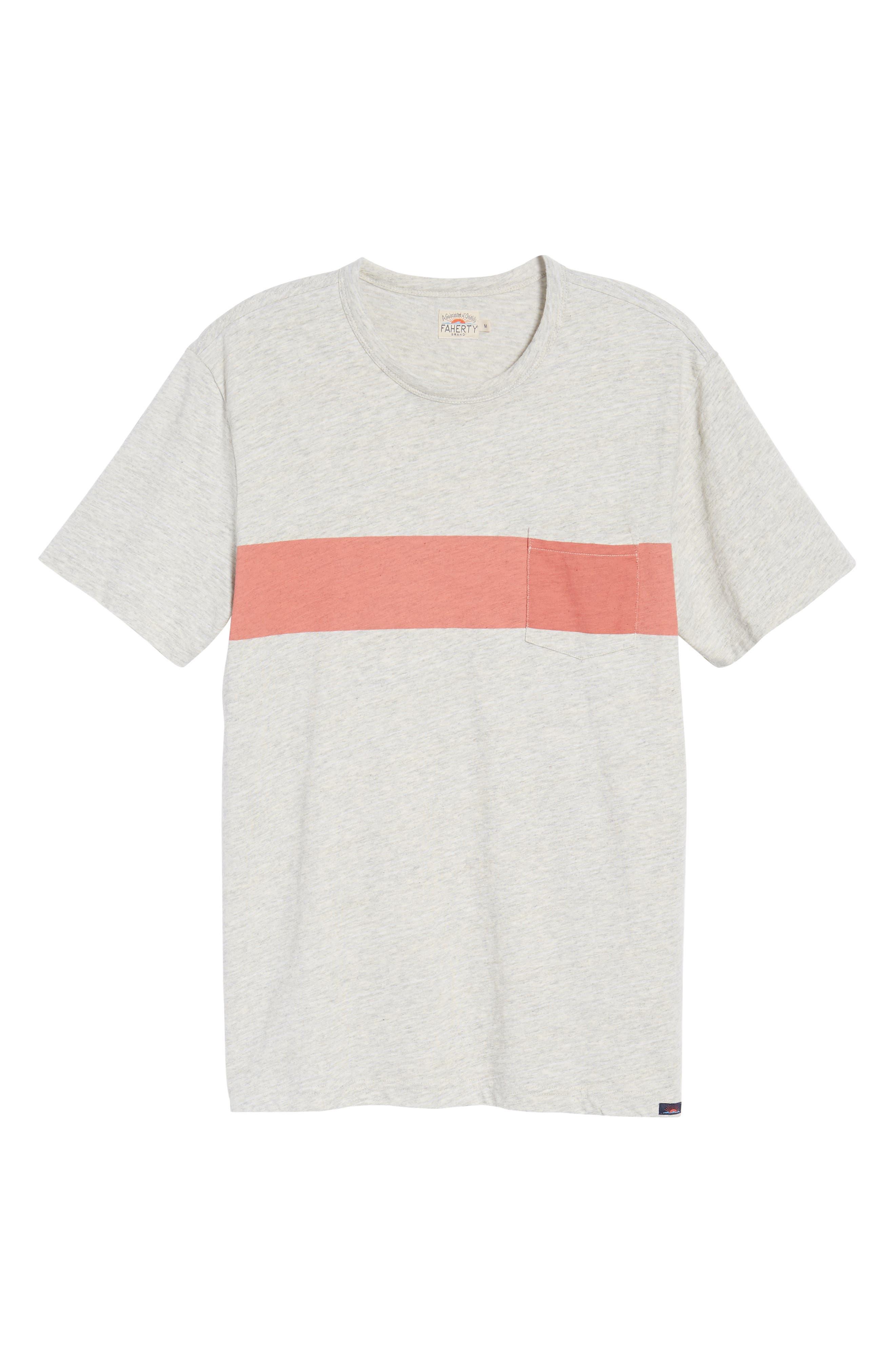 Chest Stripe Pocket T-Shirt,                             Alternate thumbnail 6, color,                             Heather Grey Stripe