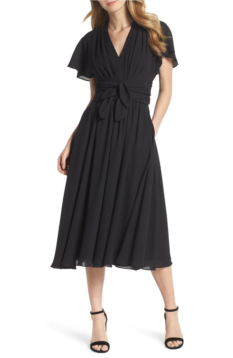 Gal meets Glam Jane Tie Waist Midi Dress, Main, color, Black Onyx