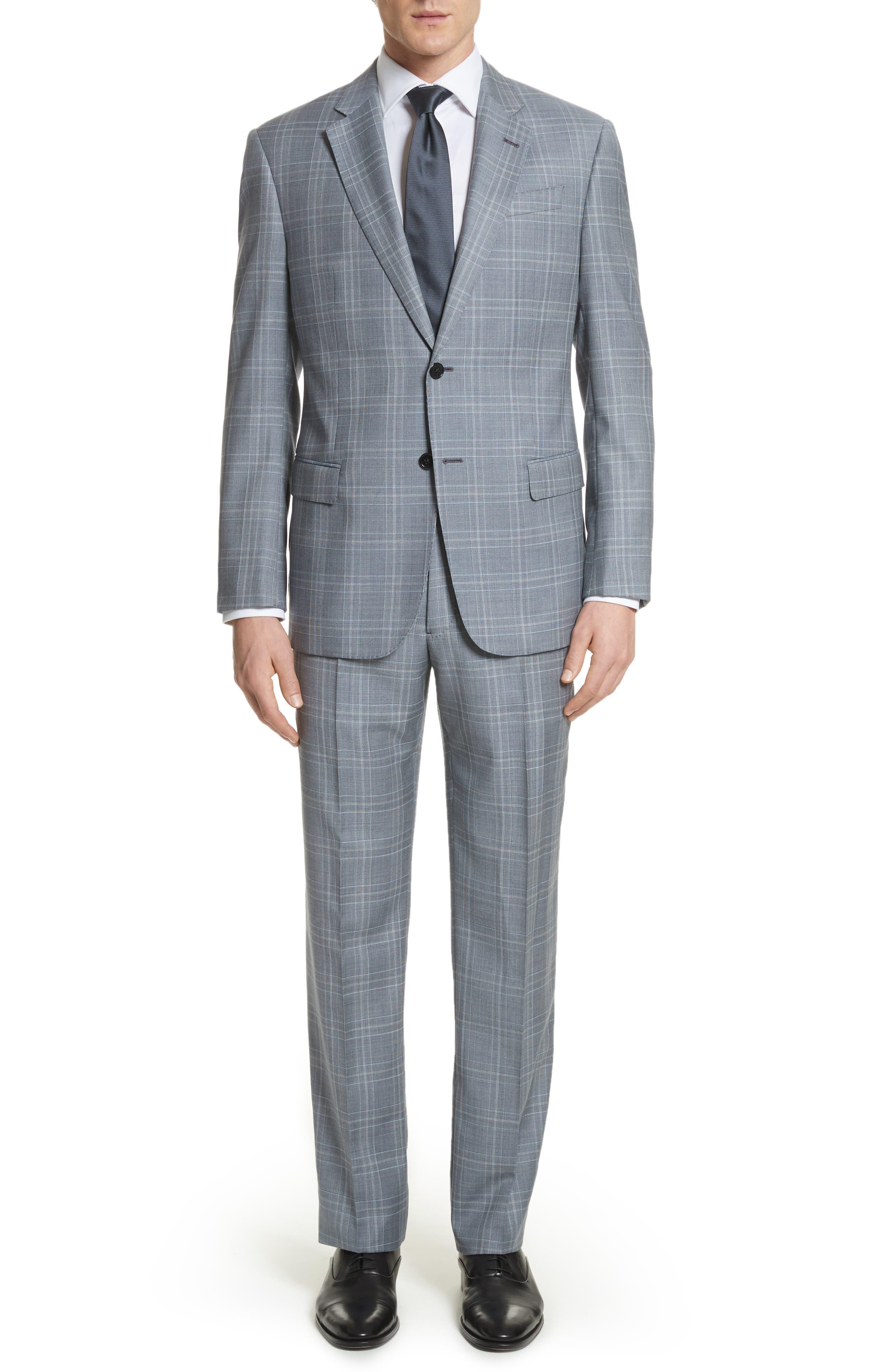 G-Line Trim Fit Plaid Wool Suit,                             Main thumbnail 1, color,                             Grey