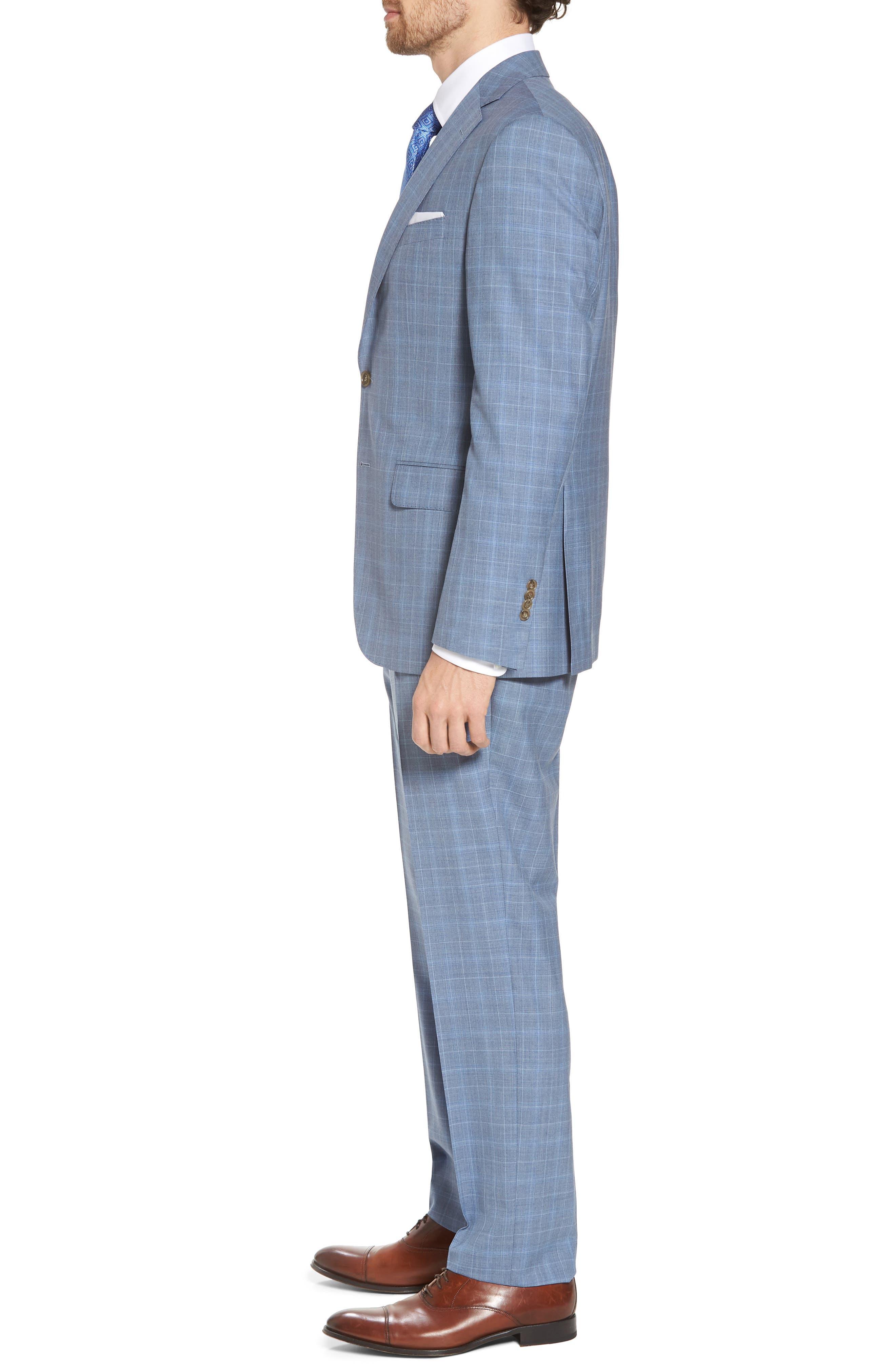 Ryan Classic Fit Plaid Wool Suit,                             Alternate thumbnail 3, color,                             Blue