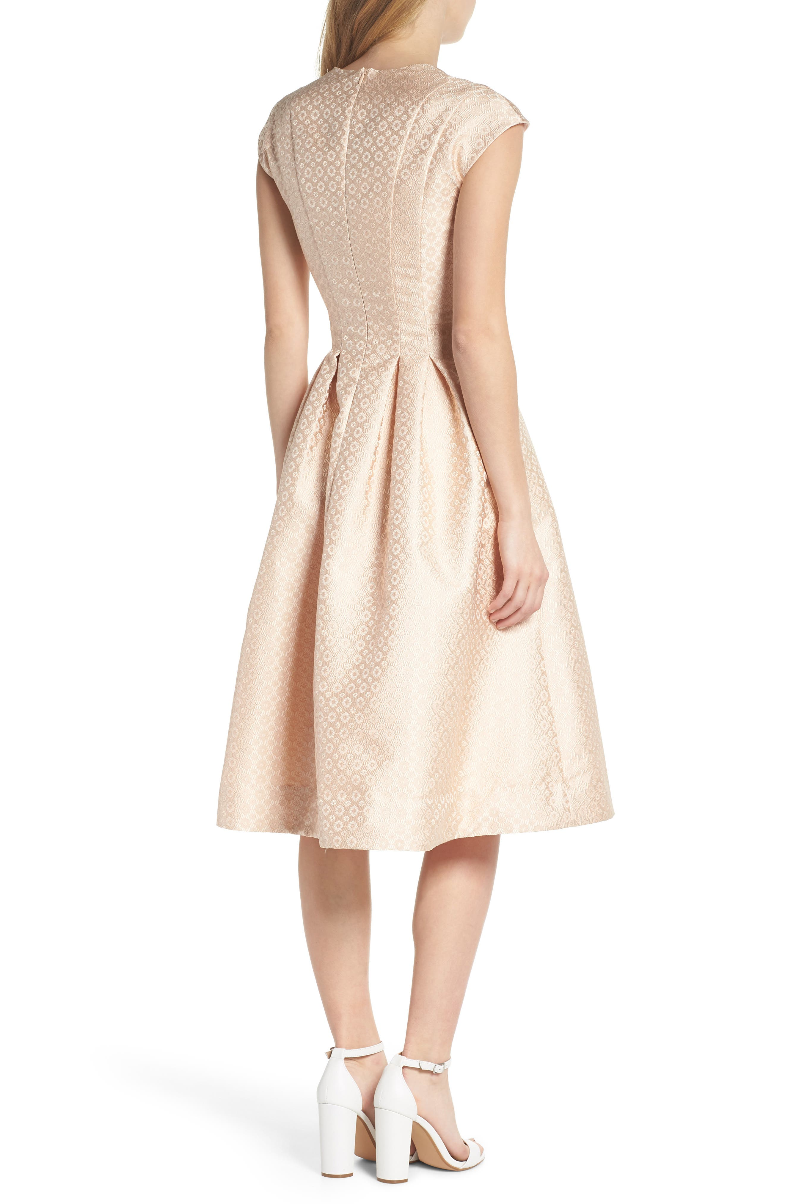 Grace Pleated Jacquard Fit & Flare Dress,                             Alternate thumbnail 3, color,                             Cream