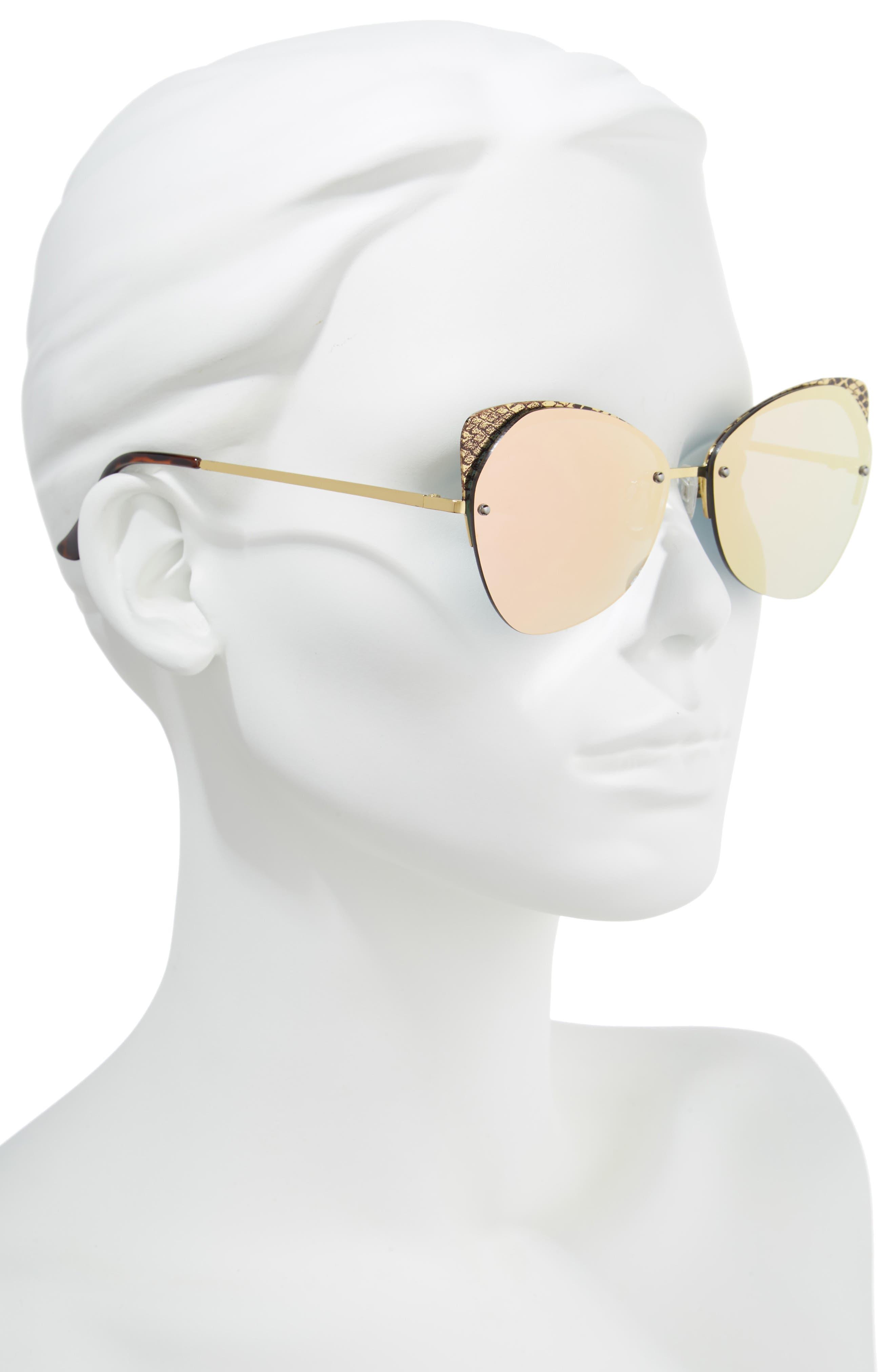 59mm Snakeskin Accent Rimless Cat Eye Sunglasses,                             Alternate thumbnail 2, color,                             Snake Pink