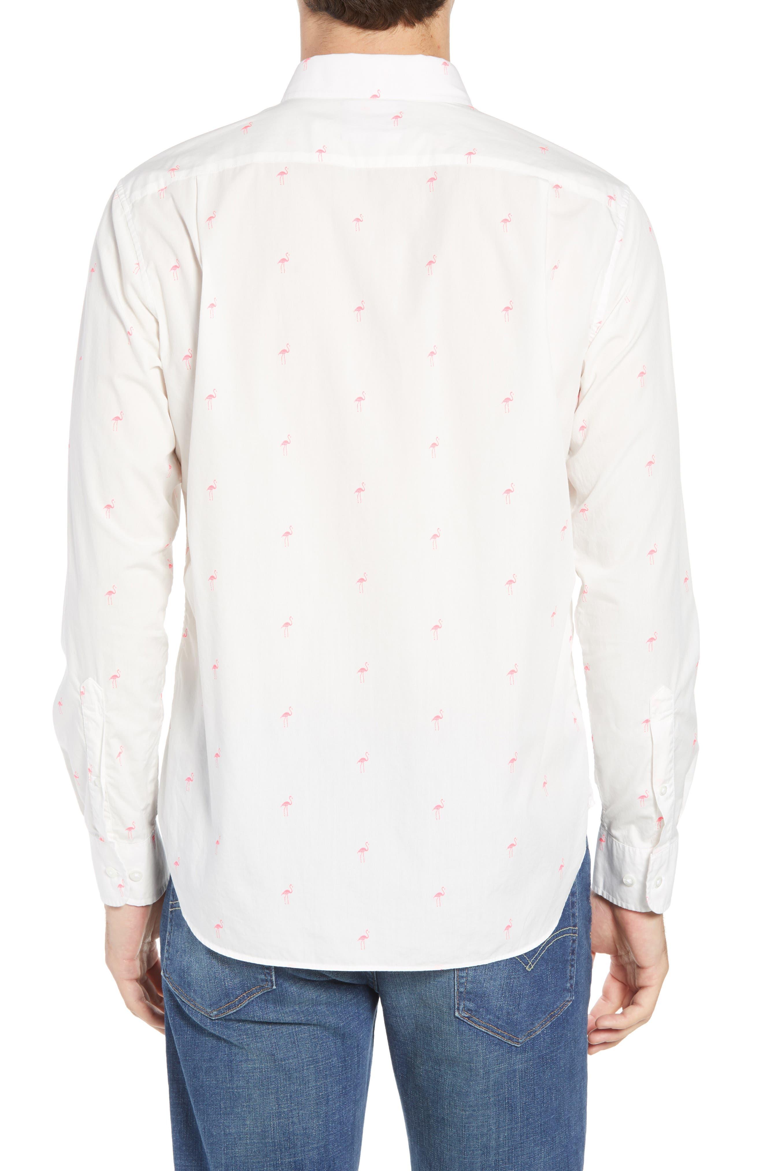 Summerweight Slim Fit Flamingo Print Sport Shirt,                             Alternate thumbnail 3, color,                             Flamingo Stamp - Knockout Pink