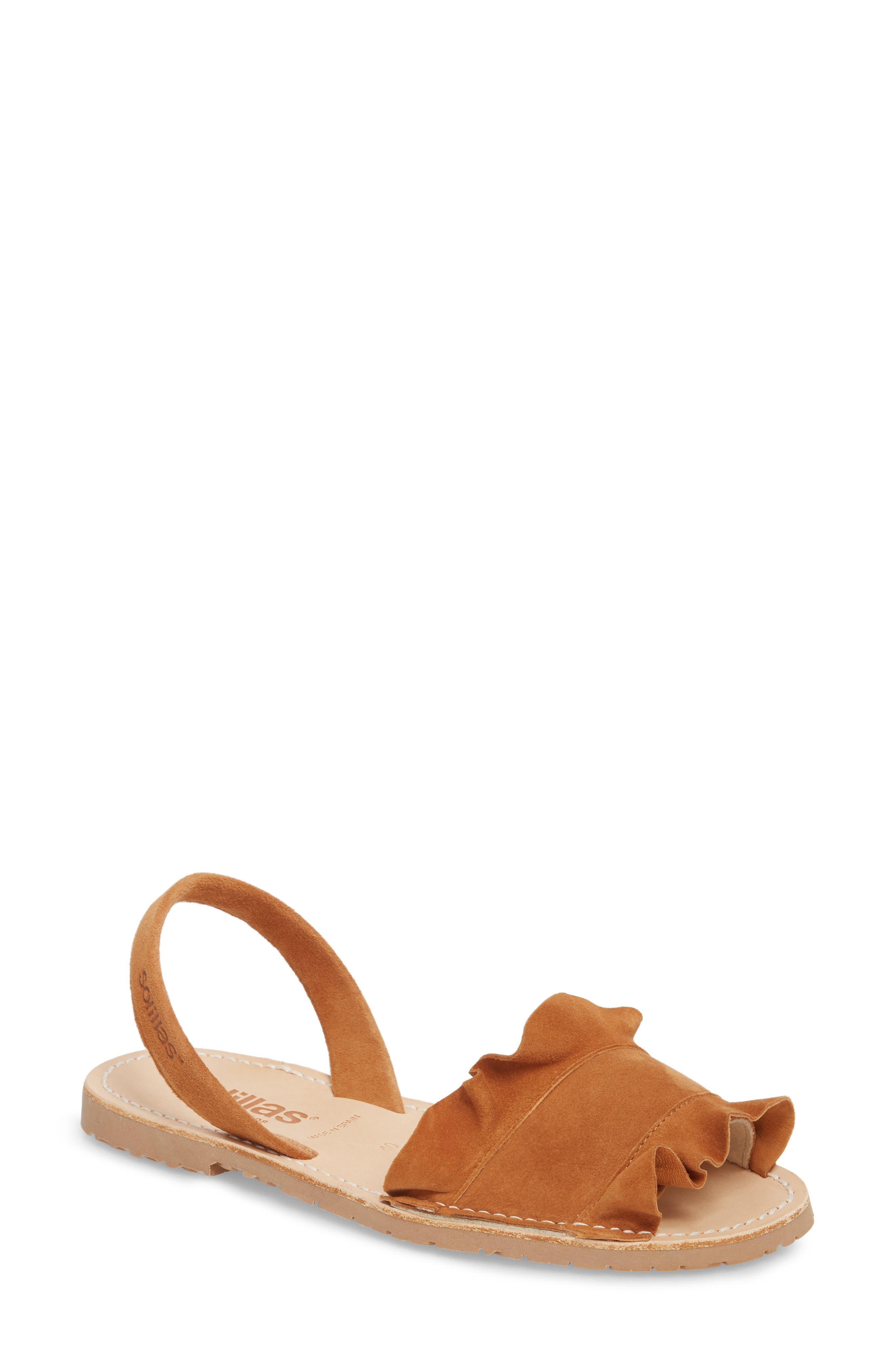 Frilled Flat Sandal,                             Main thumbnail 1, color,                             Tan