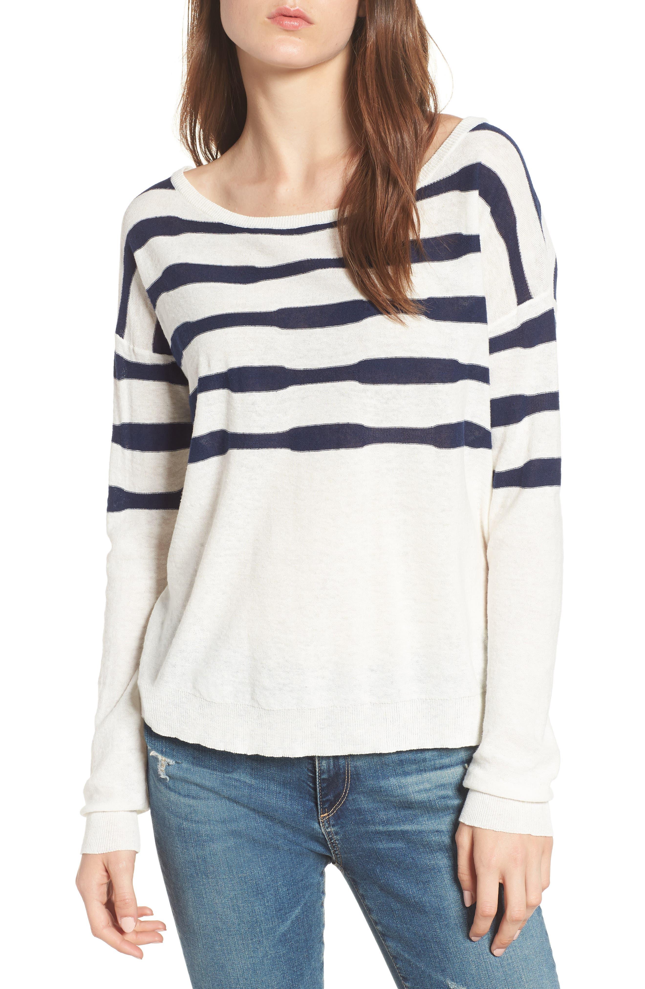 Stripe Linen & Cotton Sweater,                             Main thumbnail 1, color,                             Natural/ Navy