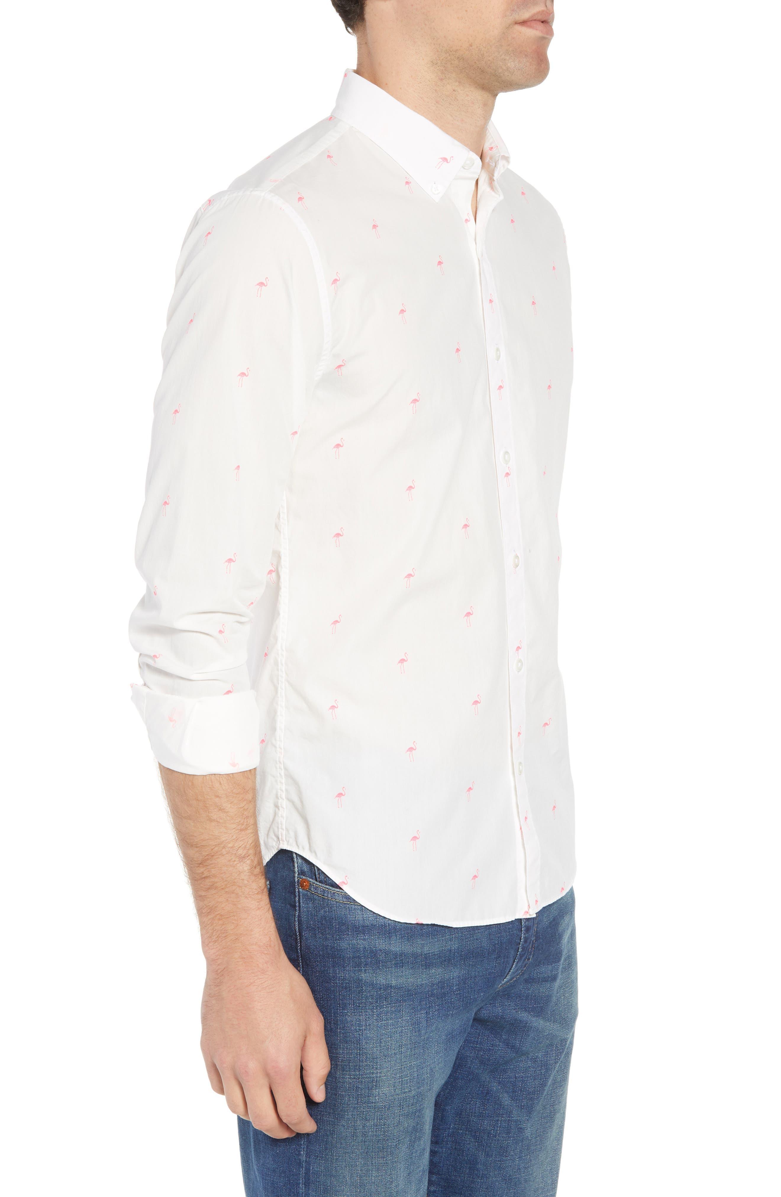 Summerweight Slim Fit Flamingo Print Sport Shirt,                             Alternate thumbnail 4, color,                             Flamingo Stamp - Knockout Pink