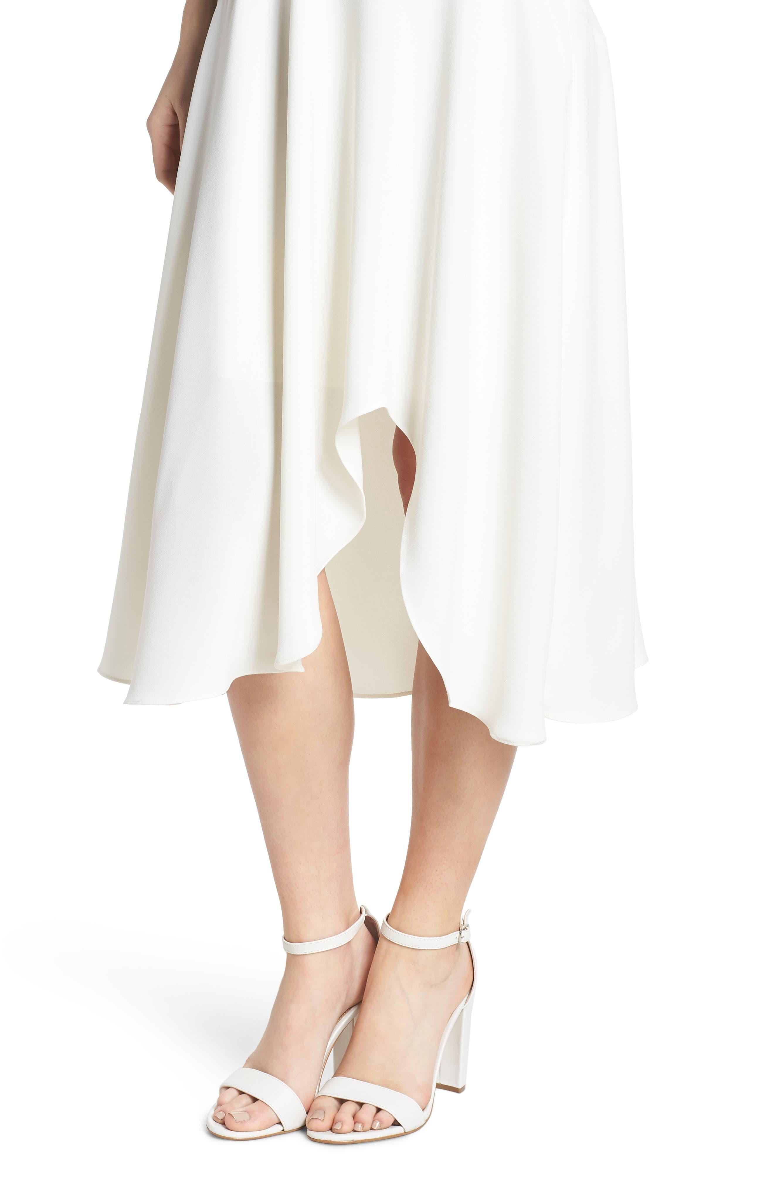 Juliet Cowl Neck Crepe Dress,                             Alternate thumbnail 6, color,                             Cloud